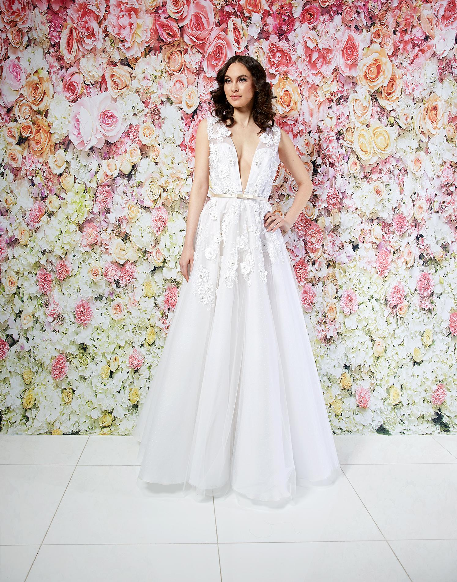 randi rahm wedding dress spring 2019 plunging neck applique a-line