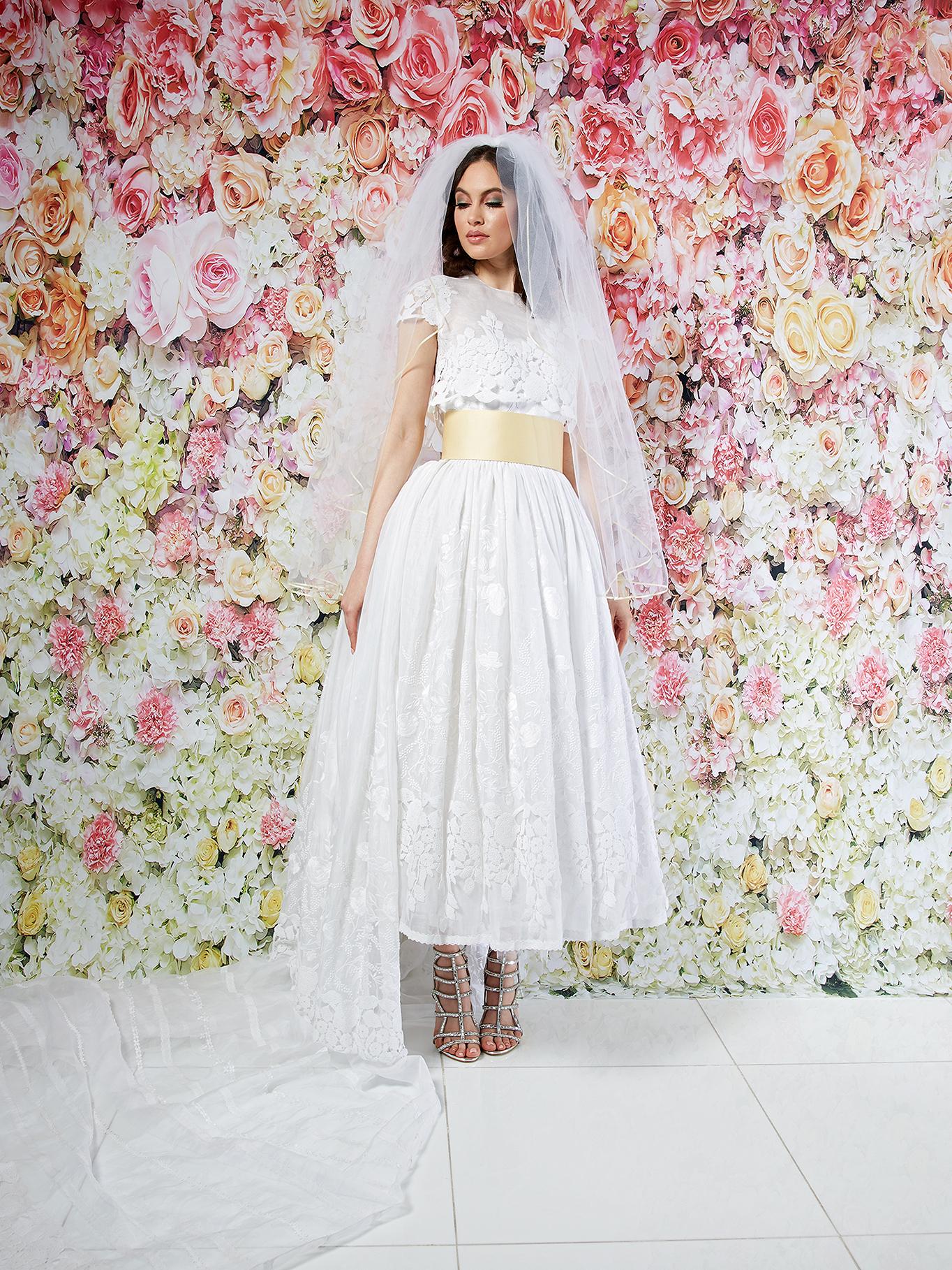 randi rahm wedding dress spring 2019 short-sleeved lace bodice overlay