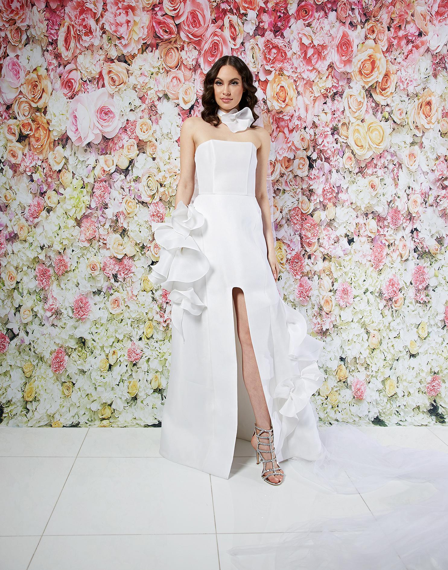 randi rahm wedding dress spring 2019 strapless a-line ruffle detail