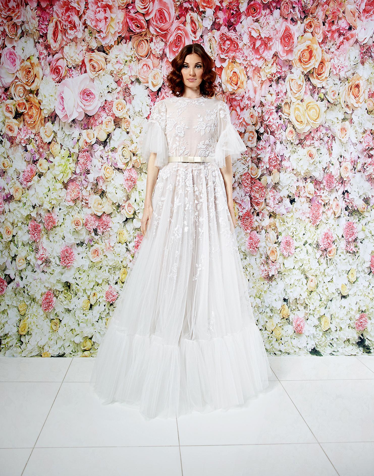 randi rahm wedding dress spring 2019 boho high-neck flutter sleeves