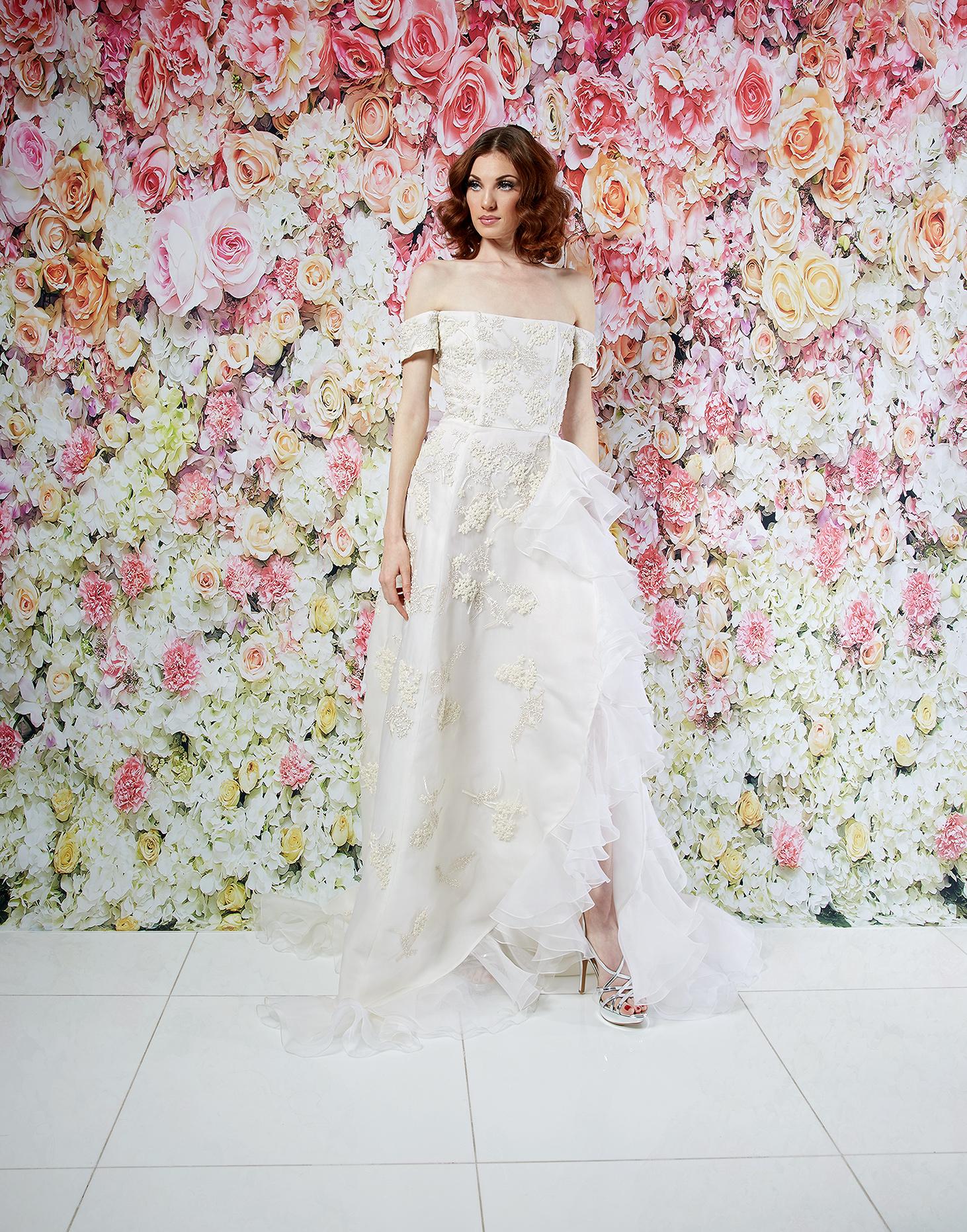 randi rahm wedding dress spring 2019 off-the-shoulder ruffle slit detail