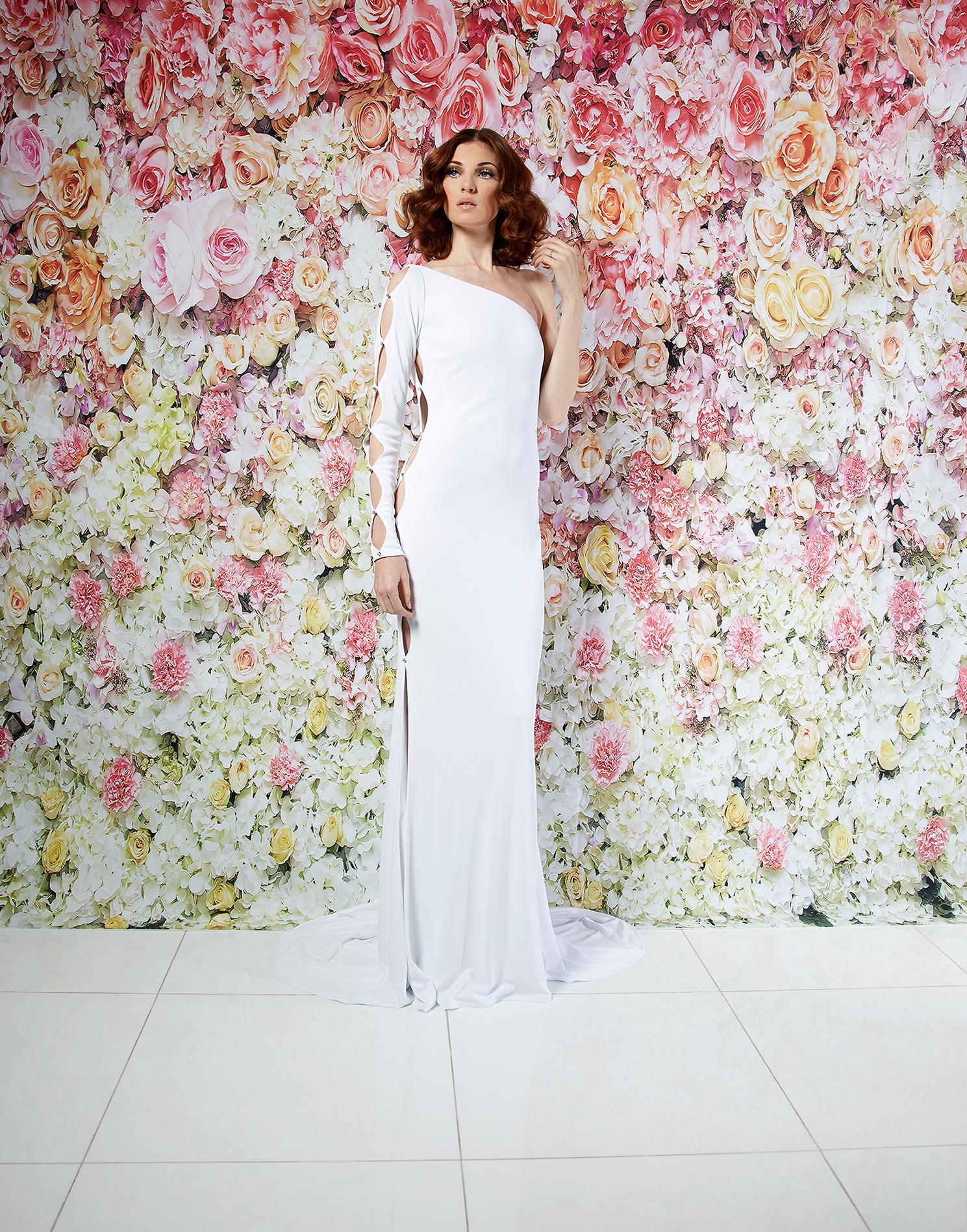 randi rahm wedding dress spring 2019 asymmetrical one-sleeved cutout sheath