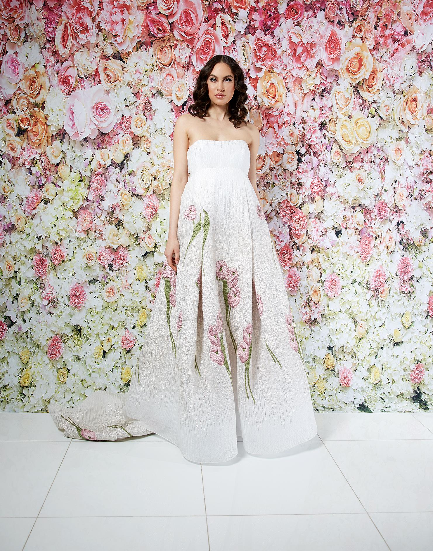 randi rahm wedding dress spring 2019 strapless a-line applique florals