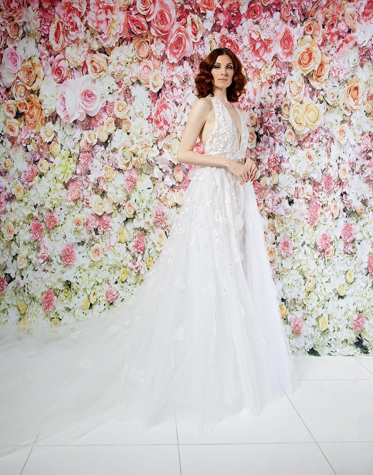 randi rahm wedding dress spring 2019 plunging v-neck halter applique