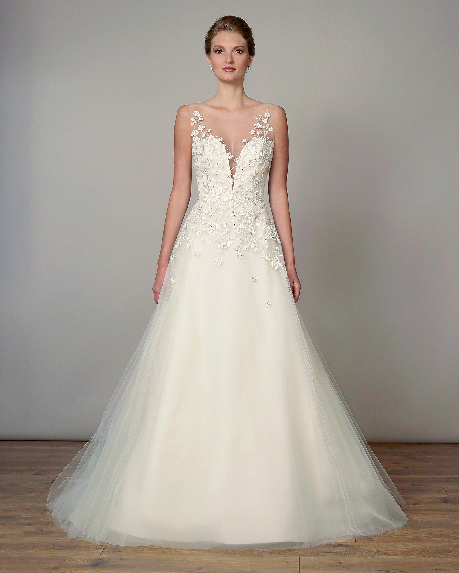 liancarlo wedding dress spring 2019 illusion neck applique a-line