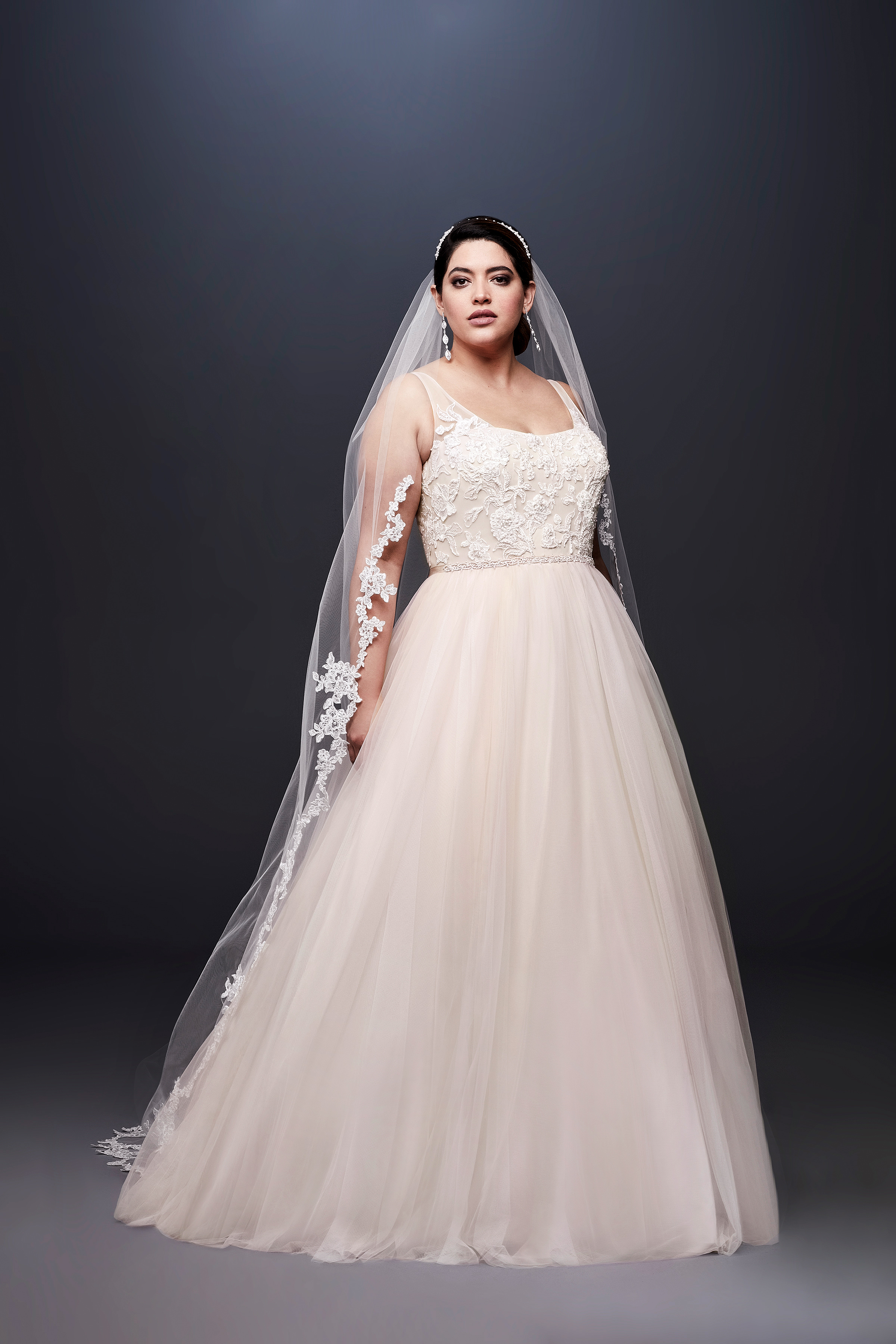 david bridal wedding dress spring 2019 lace a-line sleeveless tulle