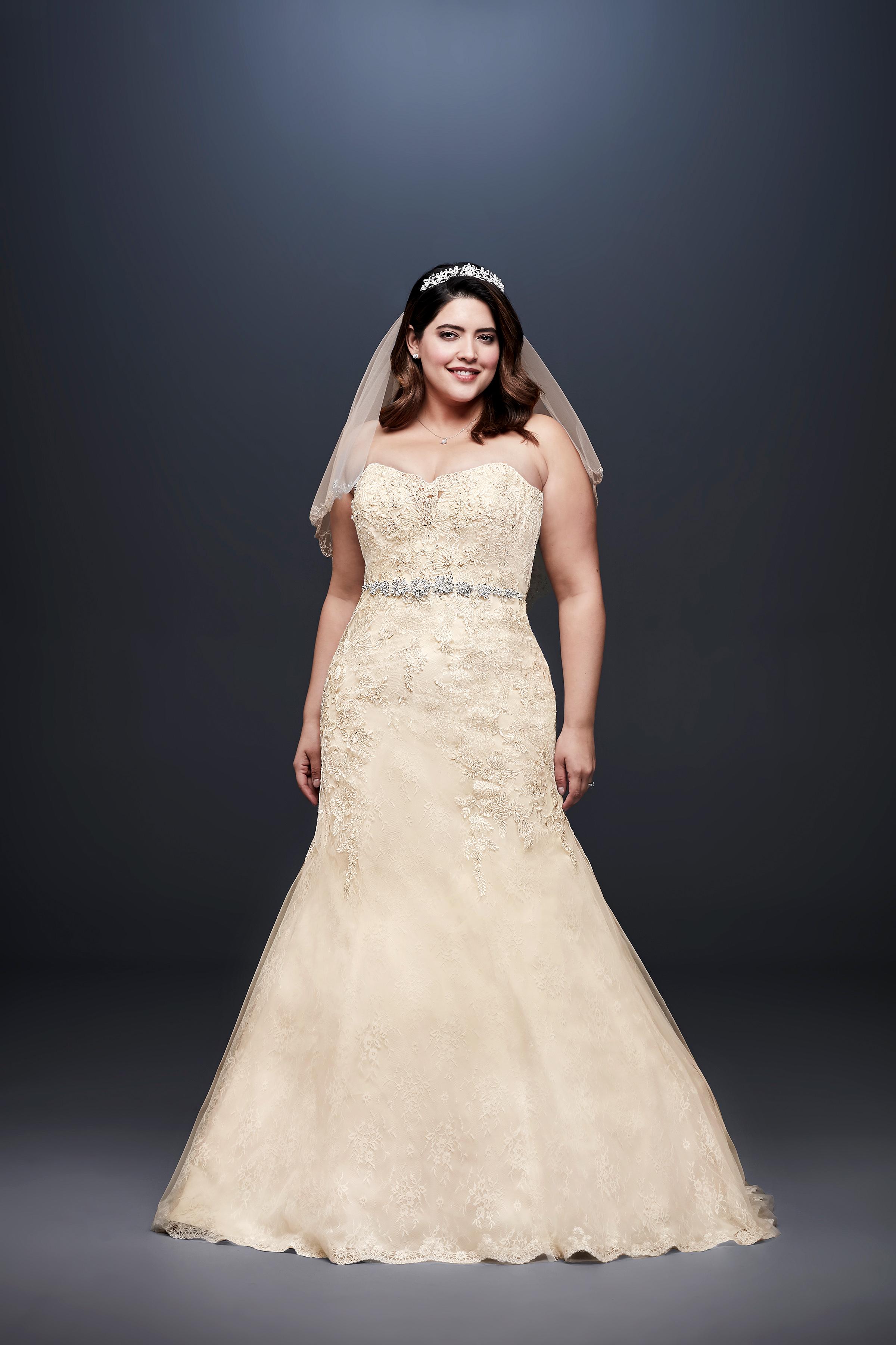 david bridal wedding dress spring 2019 gold trumpet strapless beaded belt