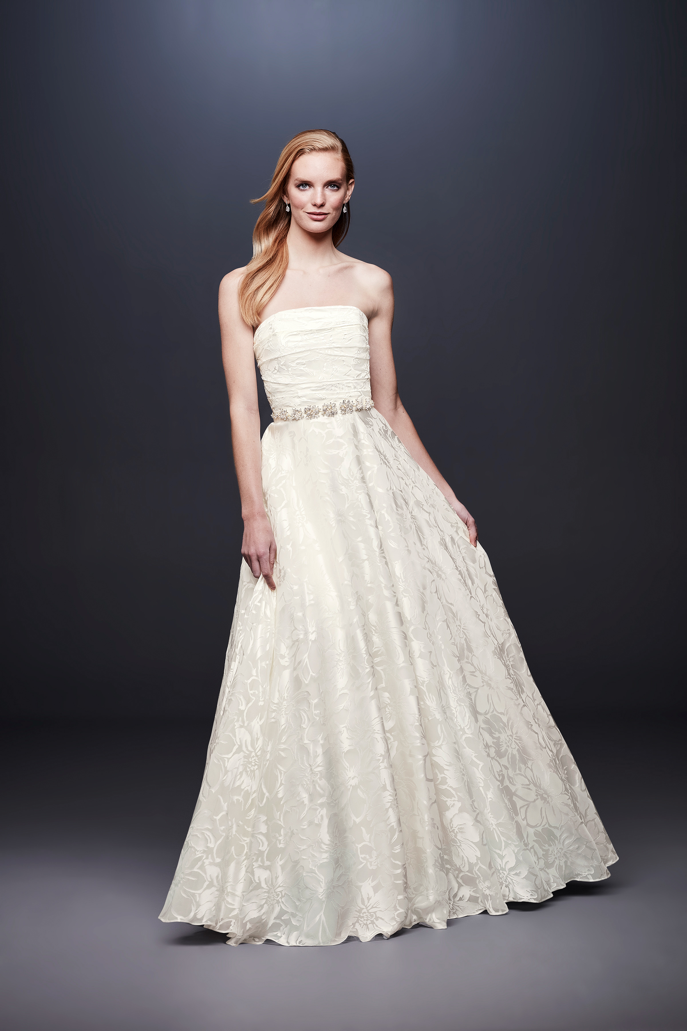 david bridal wedding dress spring 2019 strapless patterned beaded belt