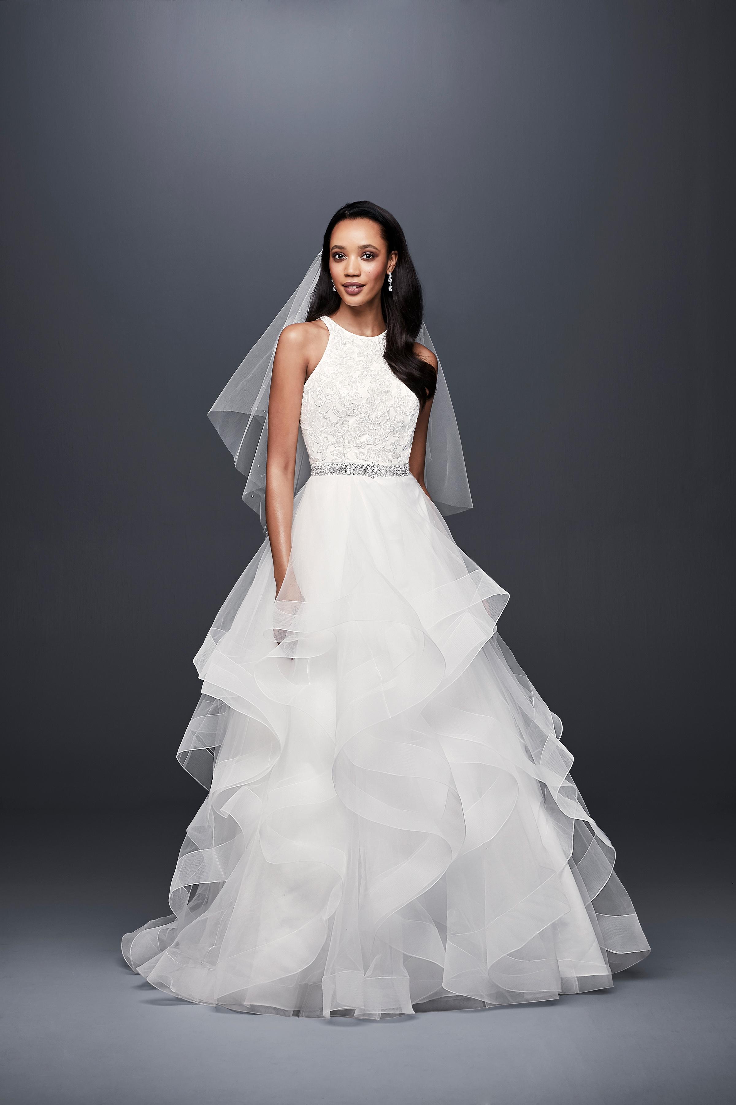 david bridal wedding dress spring 2019 tiers beaded belt sleeveless