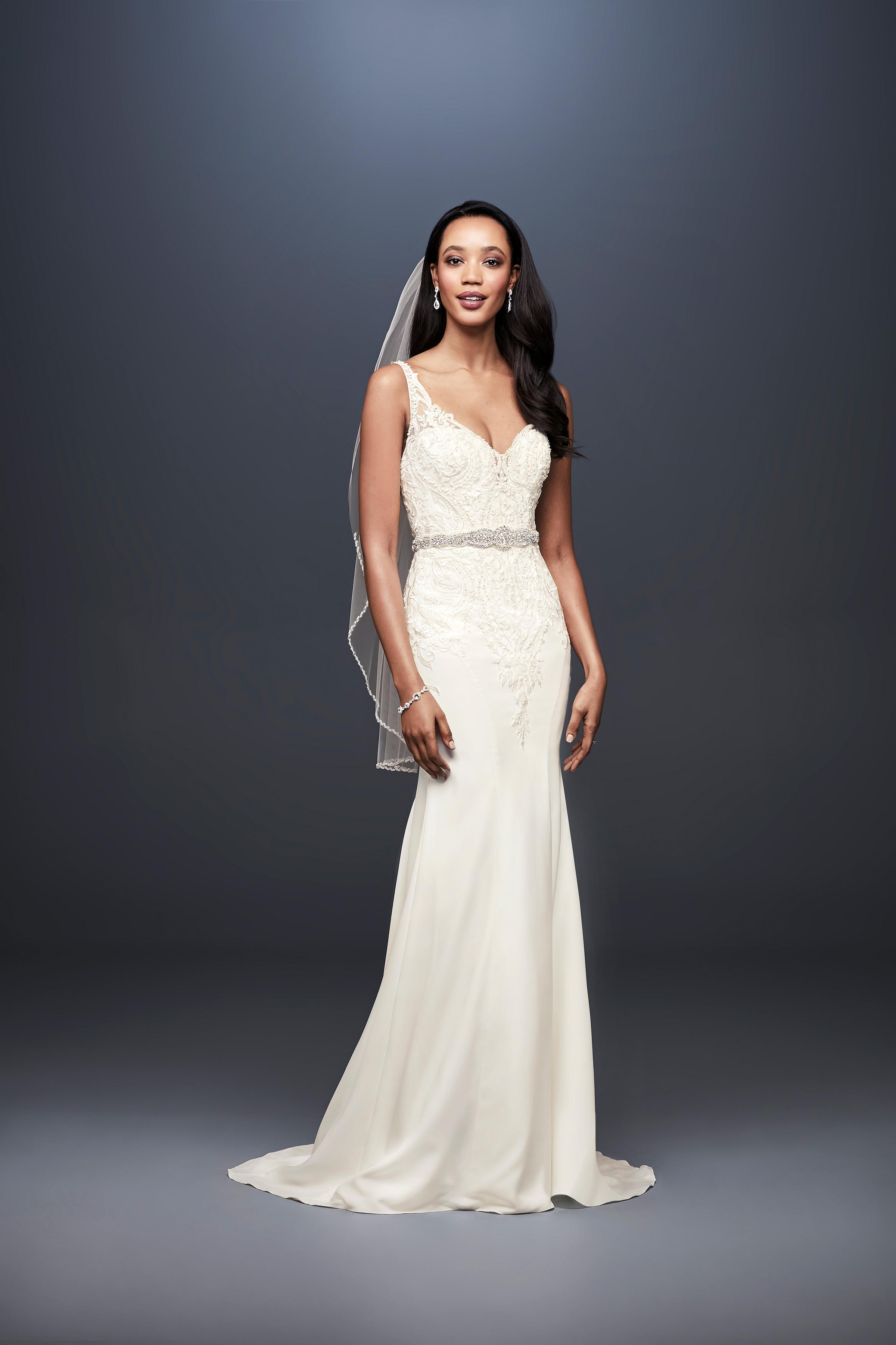 david bridal wedding dress spring 2019 v-neck lace beaded belt trumpet