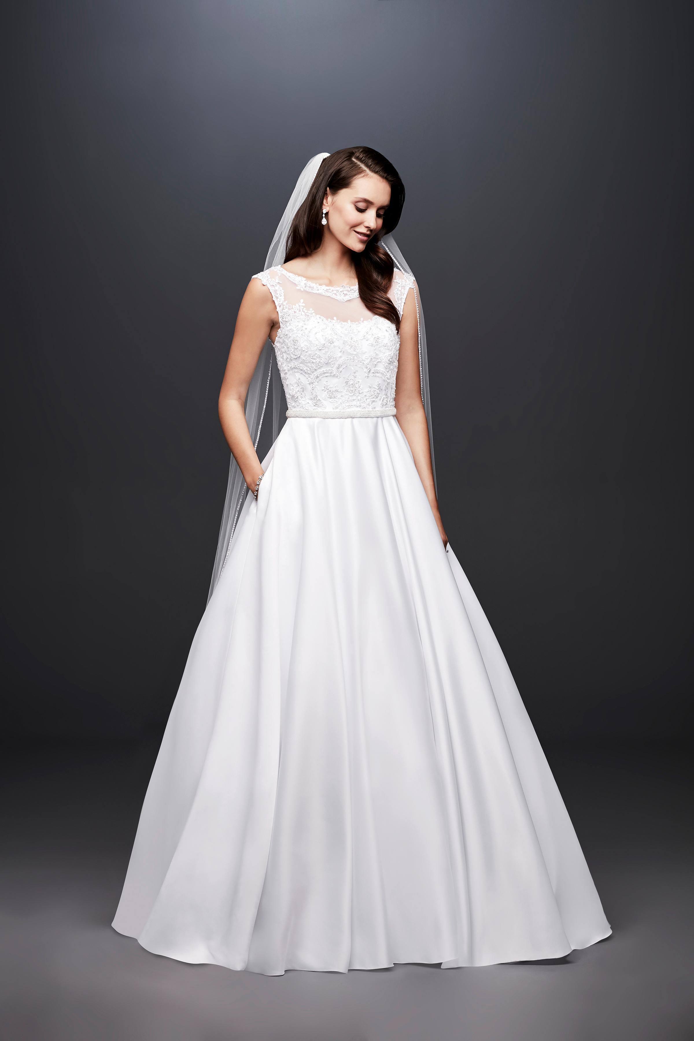 david bridal wedding dress spring 2019 cap sleeves illusion neckline a-line