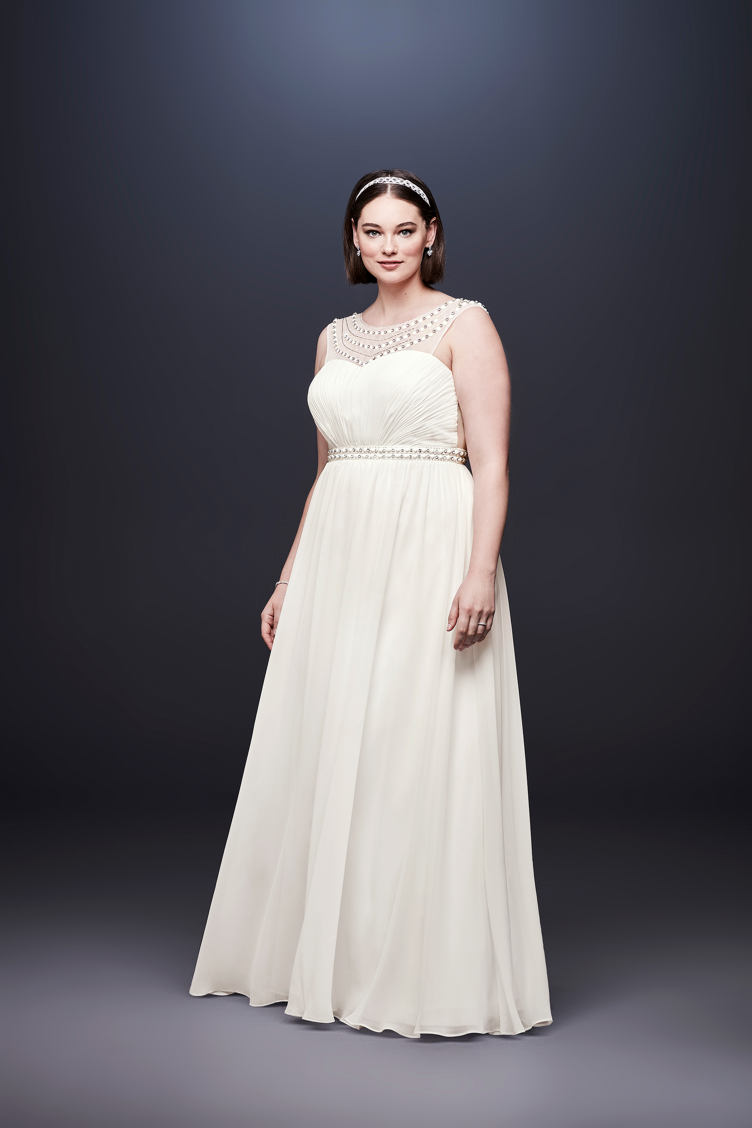 david bridal wedding dress spring 2019 sleeveless a-line boatneck