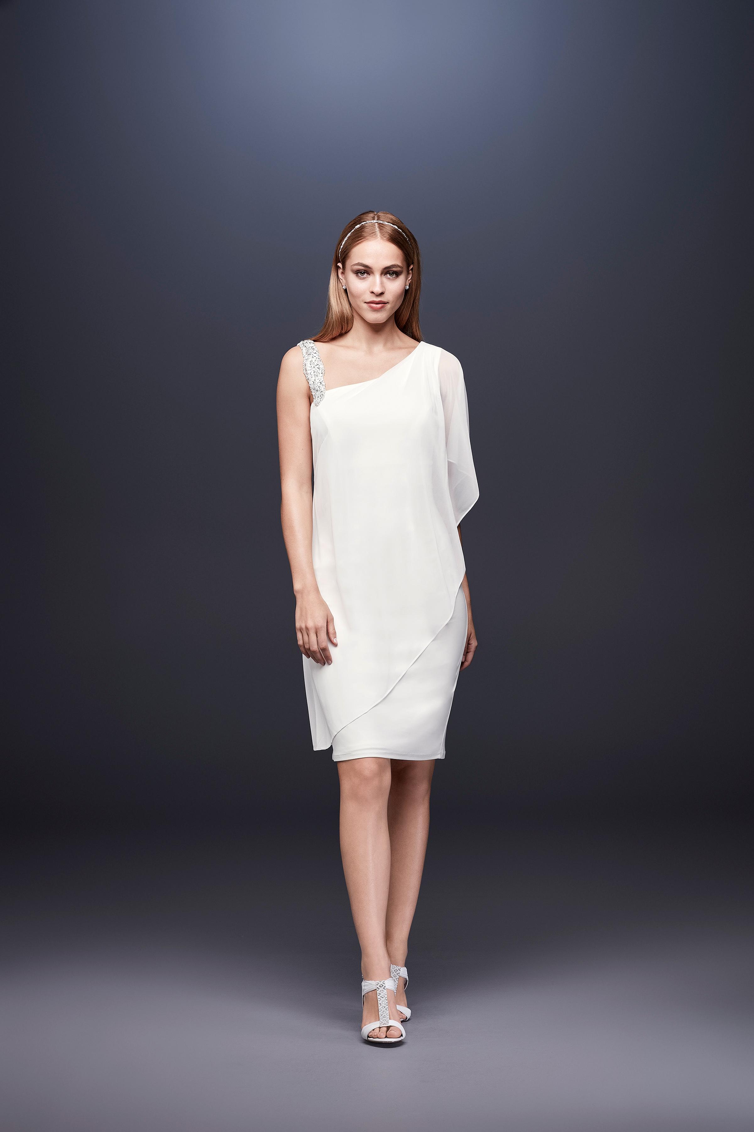 david bridal wedding dress spring 2019 sheath short one shoulder