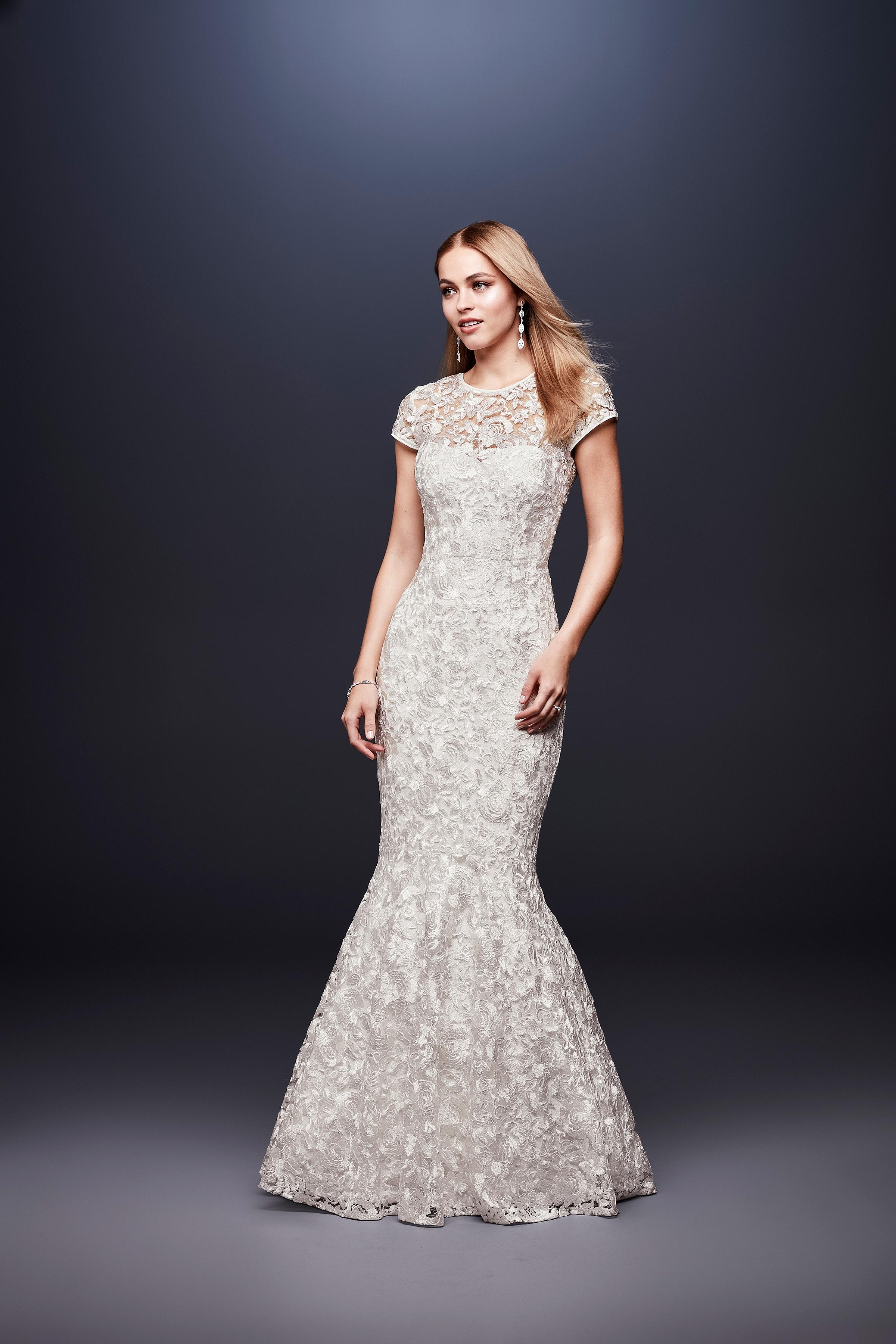 david bridal wedding dress spring 2019 short sleeves lace mermaid
