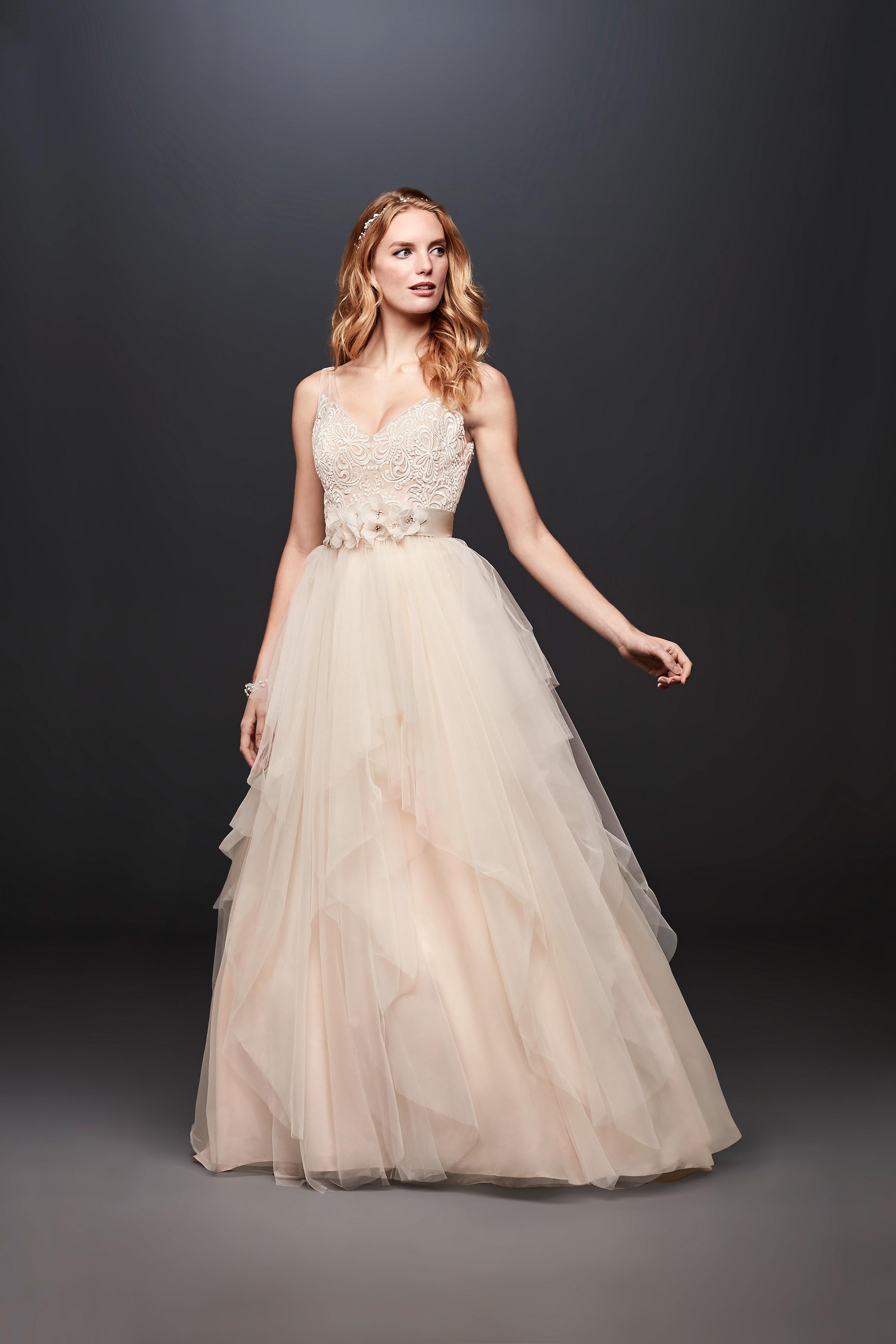 david bridal wedding dress spring 2019 sleeveless a-line tulle