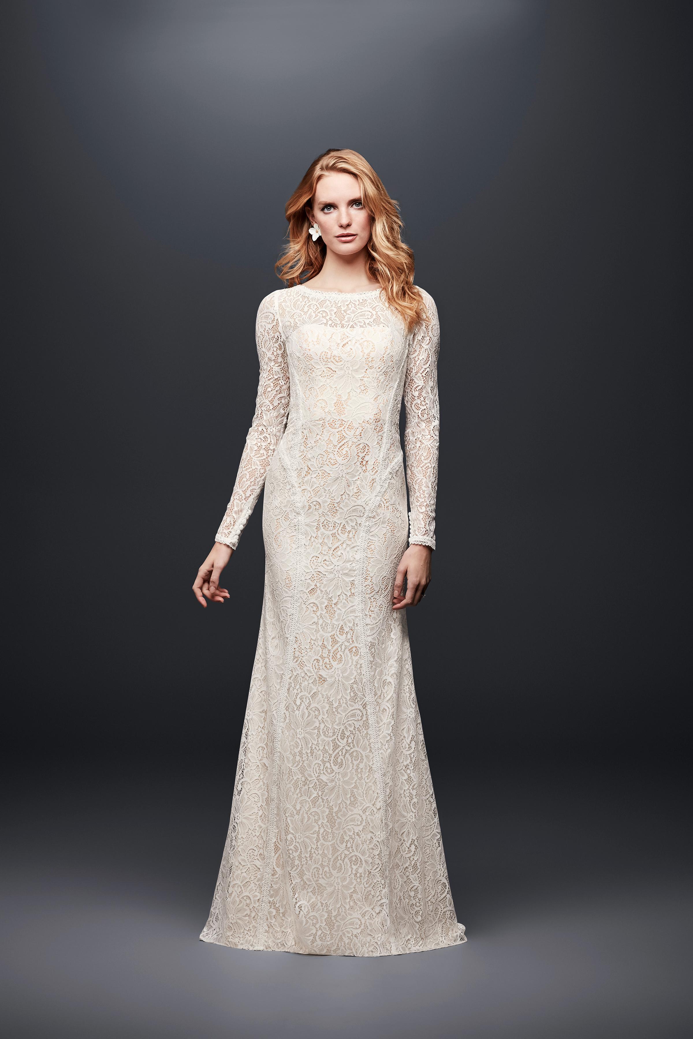 david bridal wedding dress spring 2019 long sleeves lace high neck