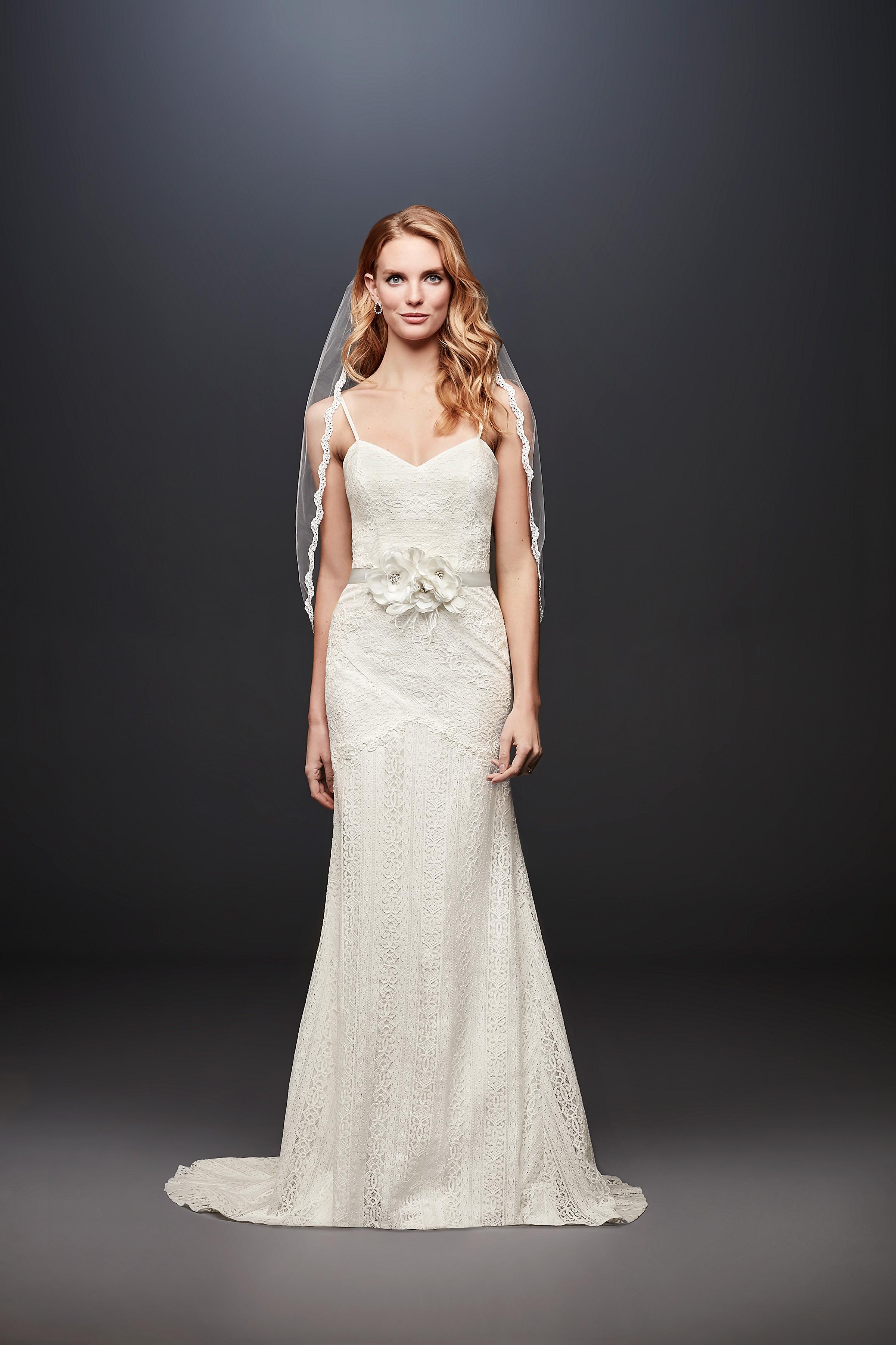 david bridal wedding dress spring 2019 spaghetti strap trumpet lace