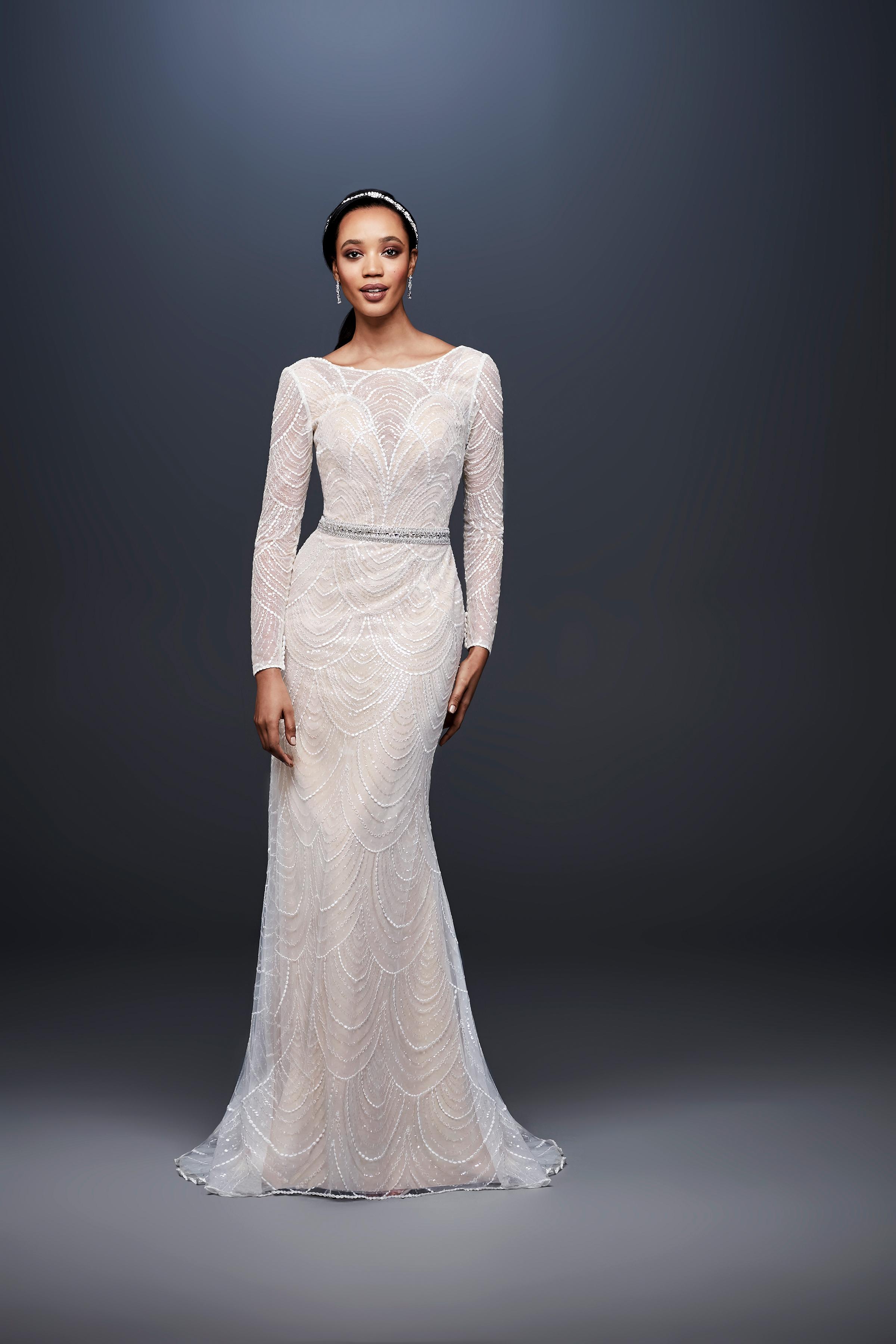david bridal wedding dress spring 2019 long sleeves beaded high neck