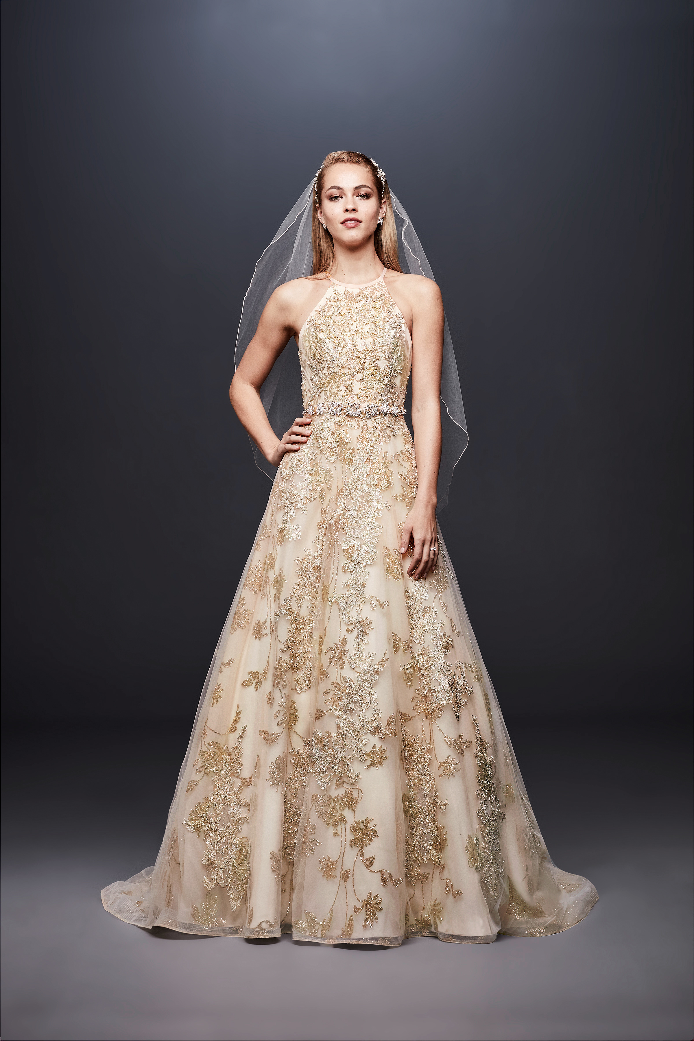 david bridal wedding dress spring 2019 gold halter patterned
