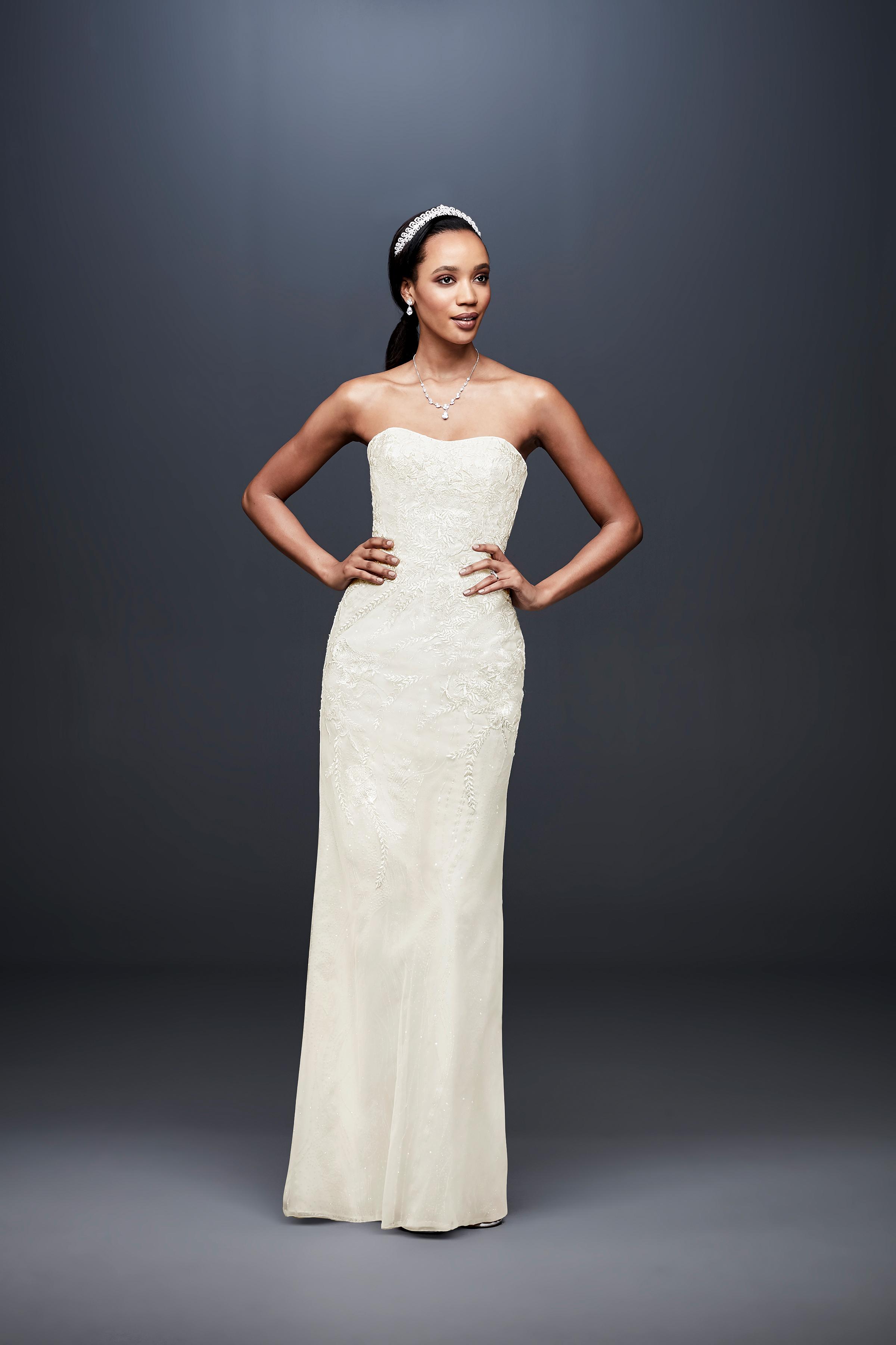 david bridal wedding dress spring 2019 strapless sheath sweatheart