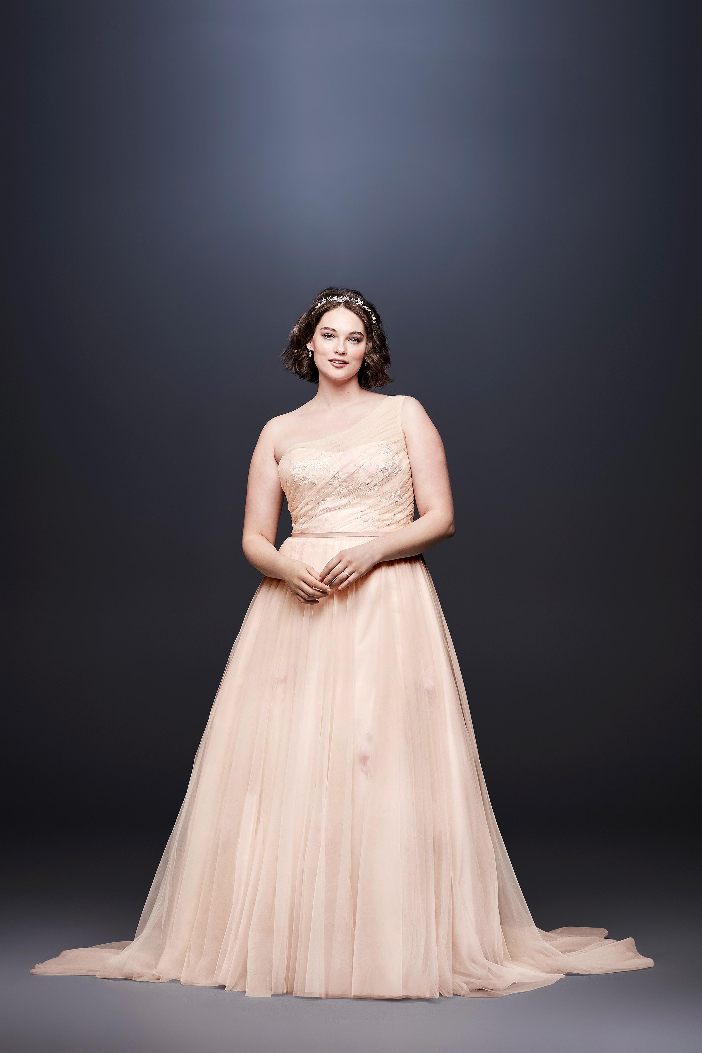david bridal wedding dress spring 2019 a-line peach one shoulder