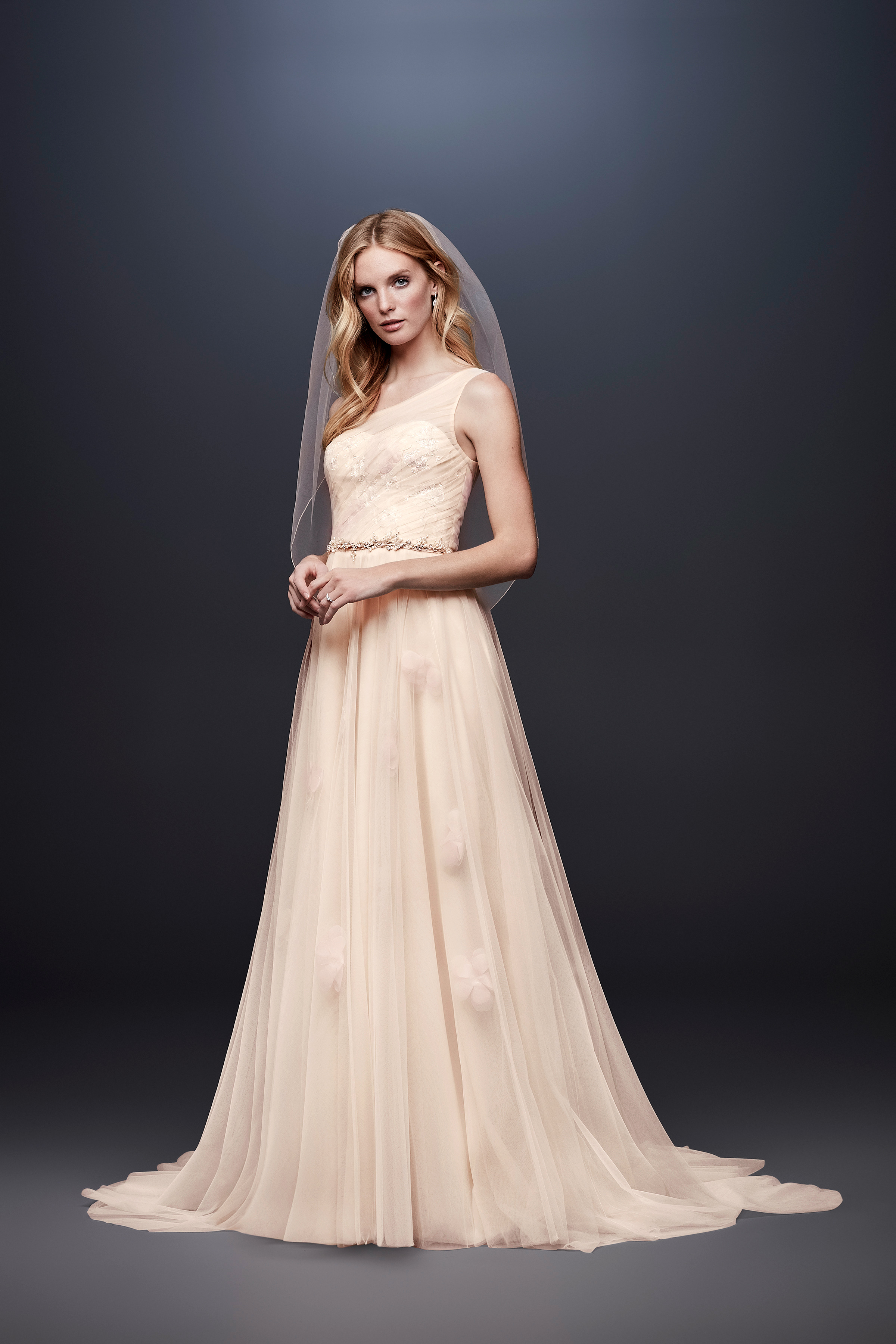 david bridal wedding dress spring 2019 a-line peach one shoulder belt