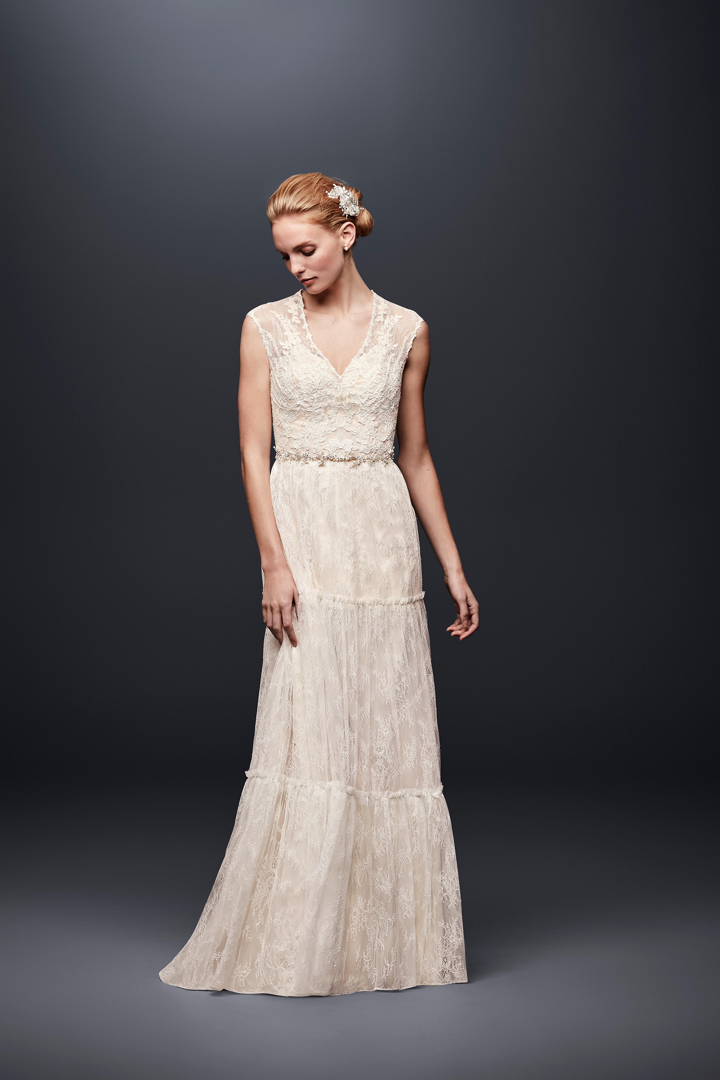 david bridal wedding dress spring 2019 v-neck lace sleeveless