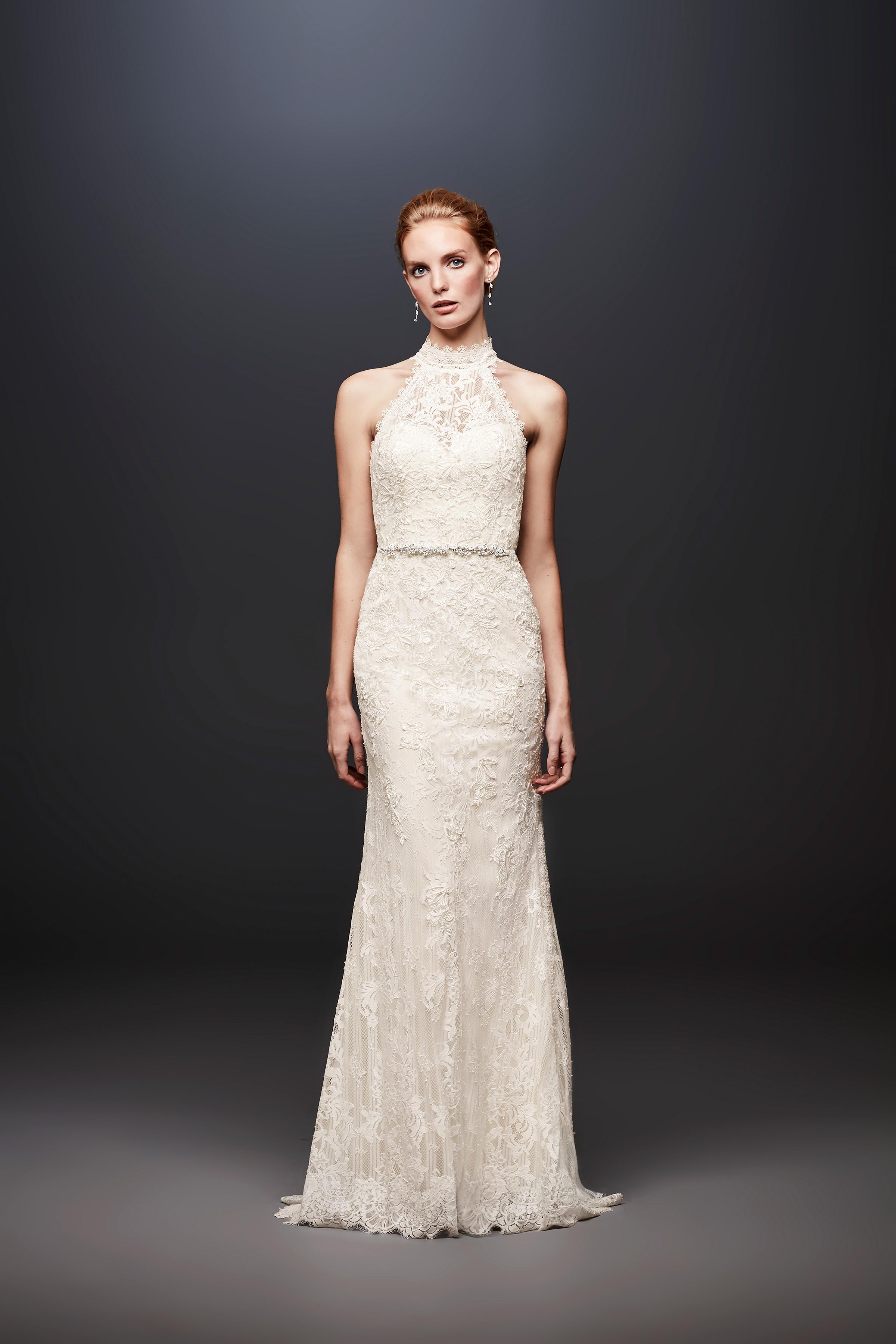 david bridal wedding dress spring 2019 halter lace belt