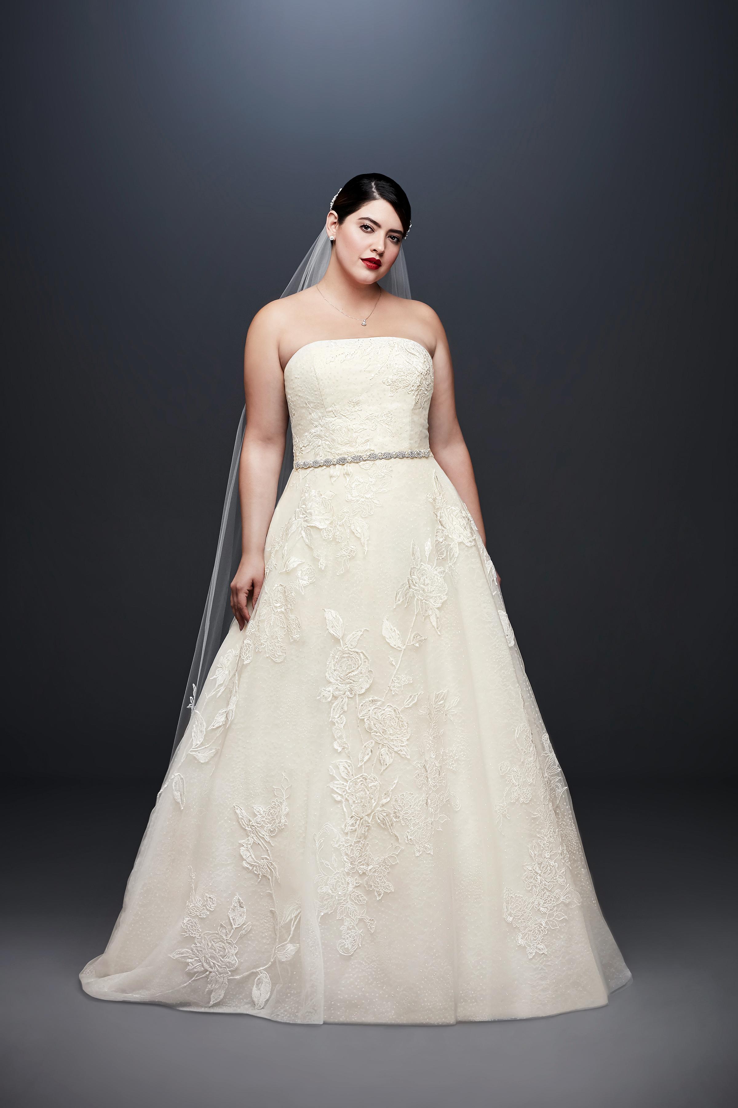 david bridal wedding dress spring 2019 lace a-line strapless