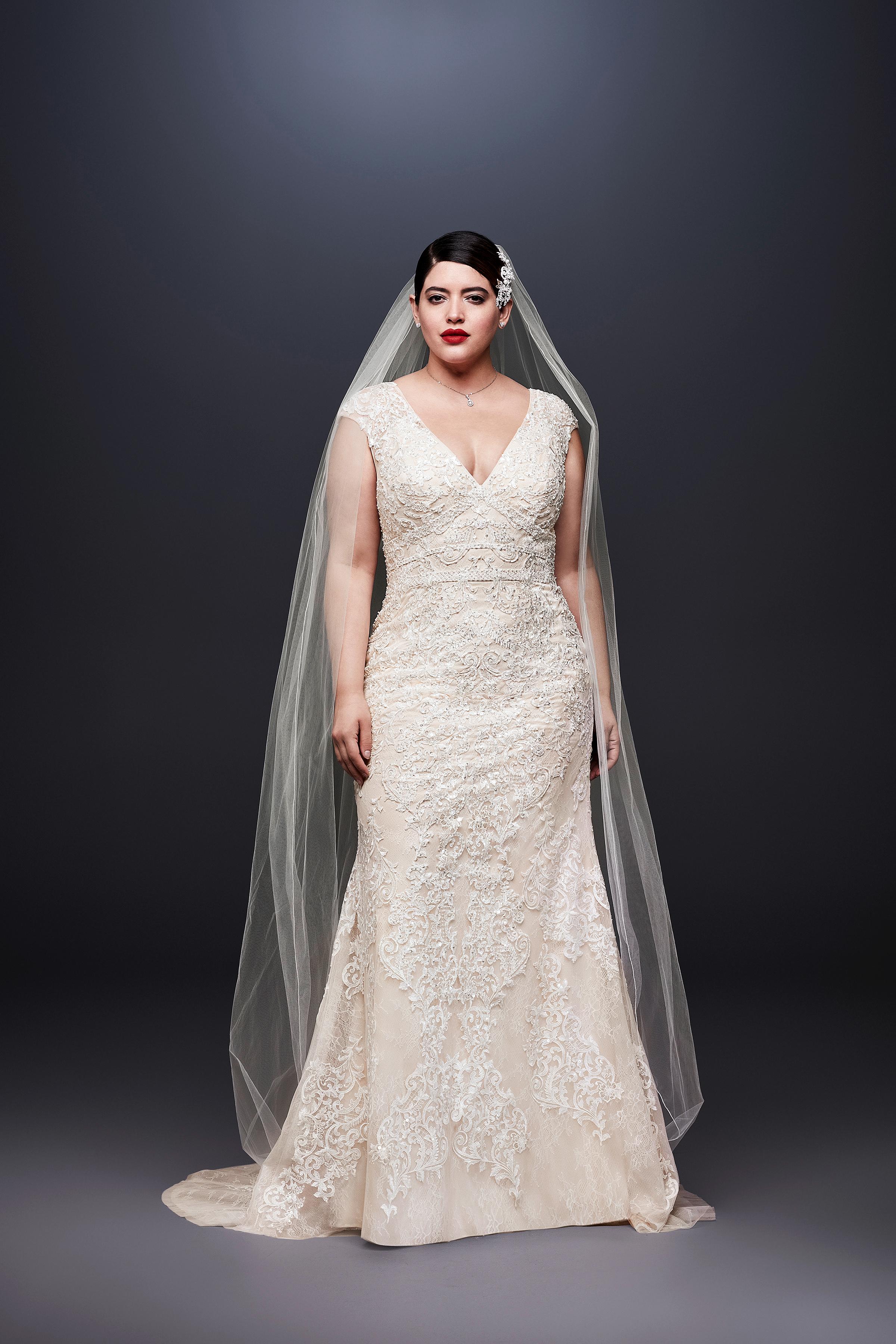 david bridal wedding dress spring 2019 lace cap sleeves v-neck