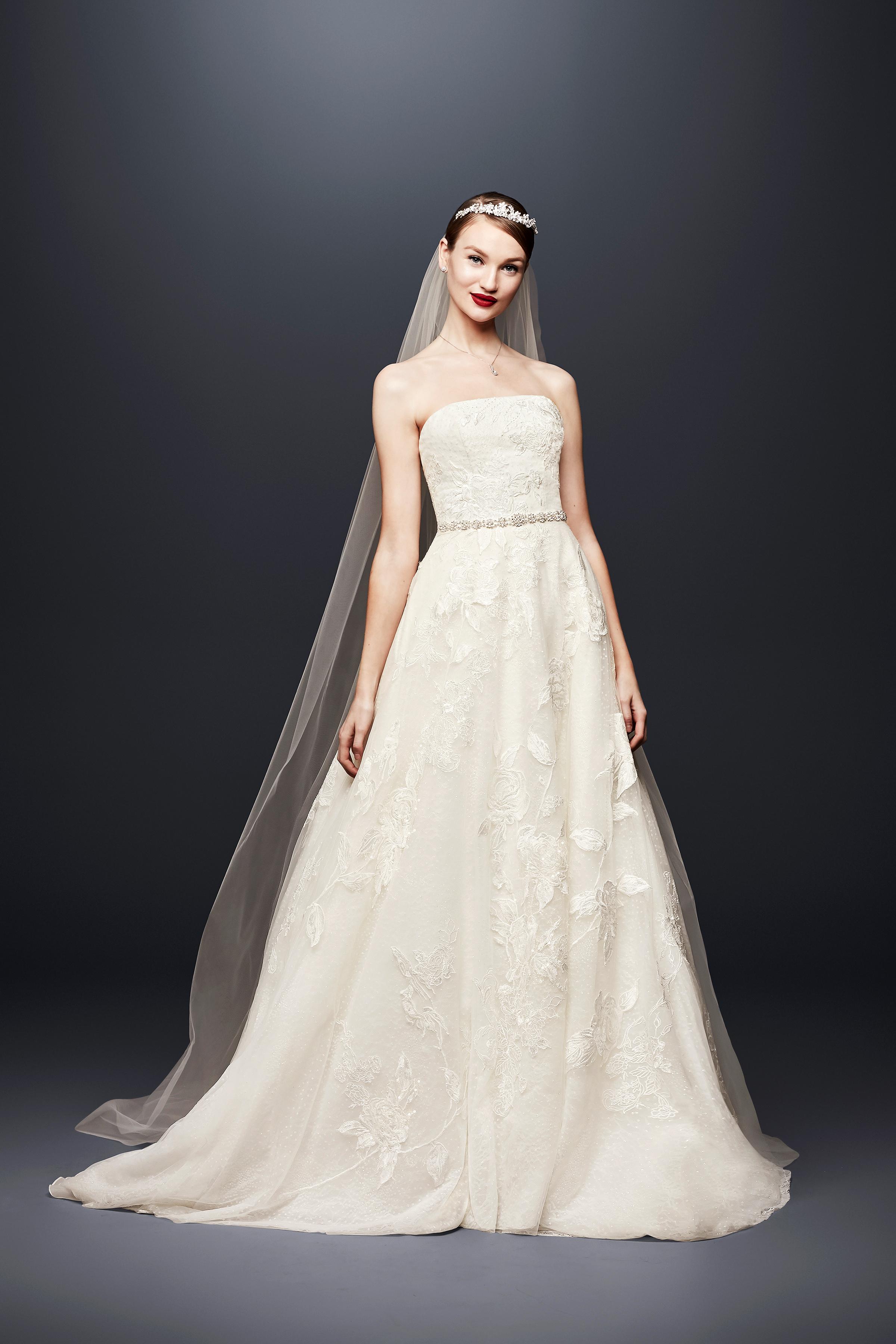 david bridal wedding dress spring 2019 a-line strapless beaded belt