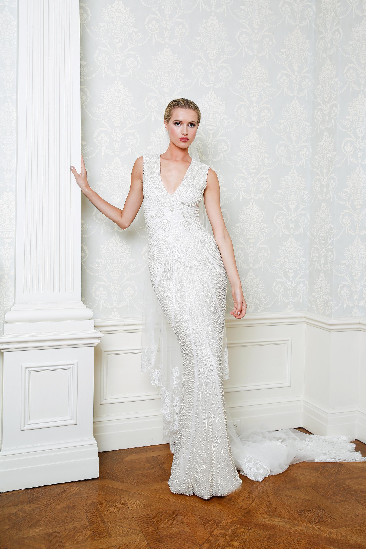 Cristina Ottaviano wedding dress spring 2019 beaded sheath v-neck gown