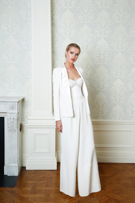 Cristina Ottaviano wedding dress spring 2019 pantsuit with wide leg pants
