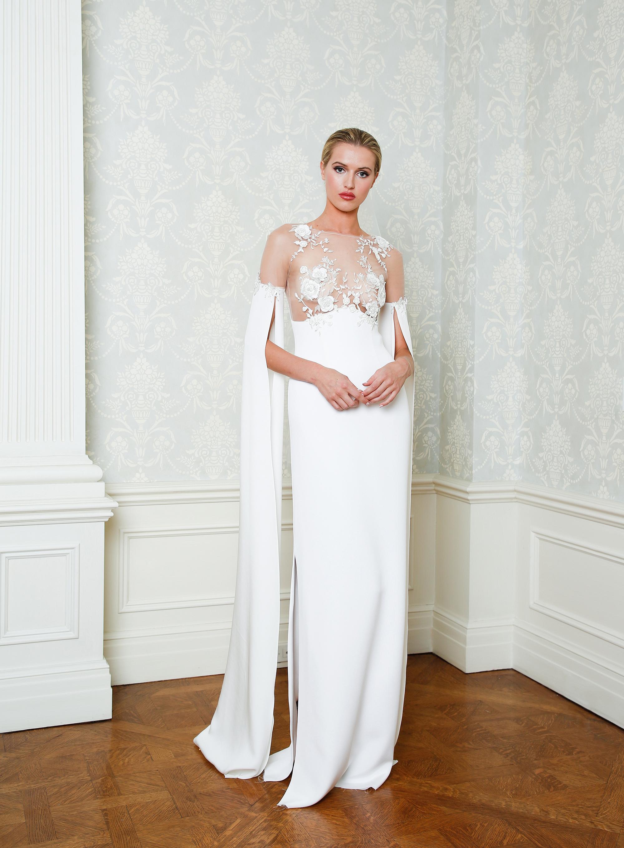 Cristina Ottaviano wedding dress spring 2019 sheer lace top sheath with skirt slit