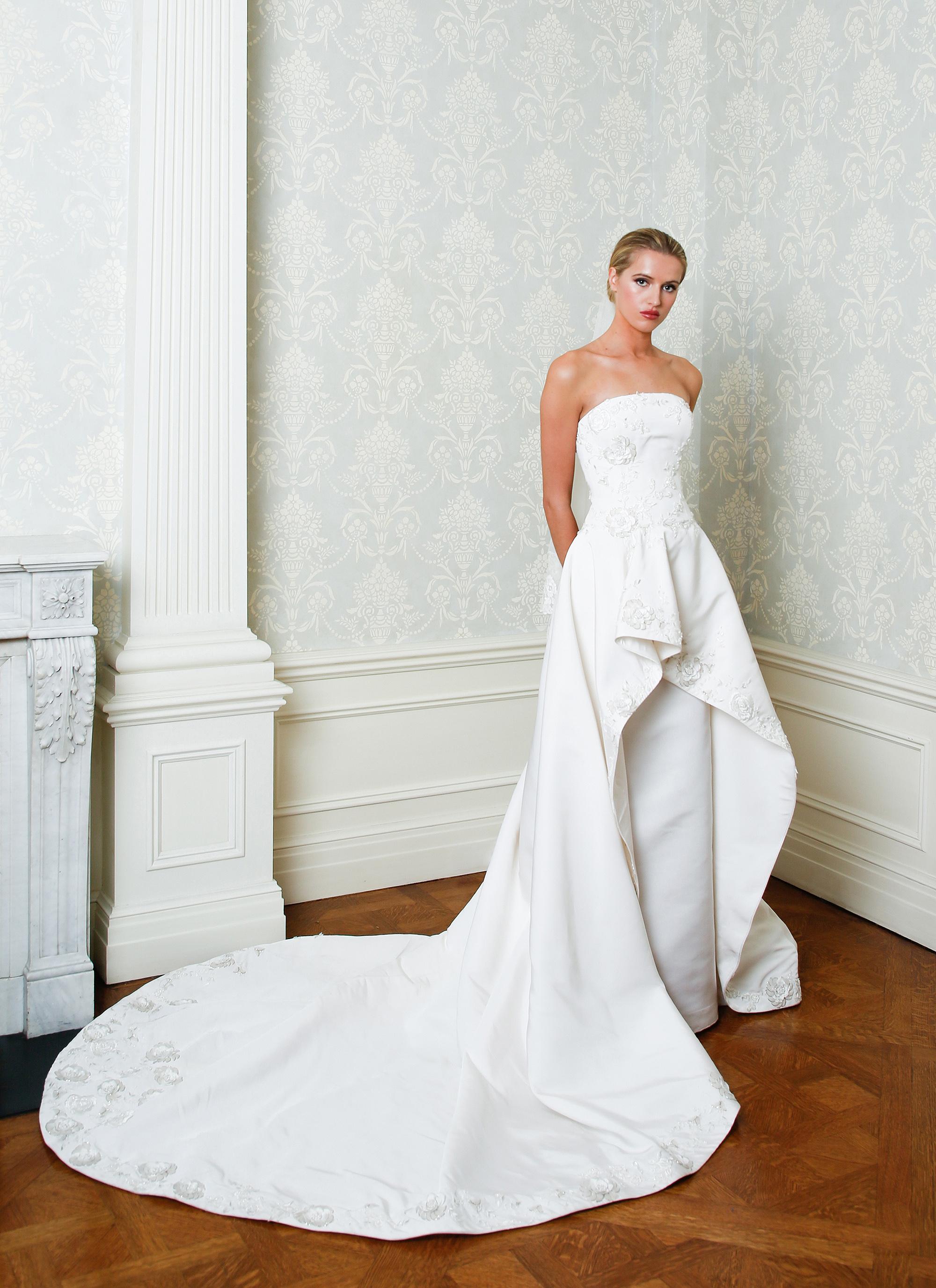 Cristina Ottaviano wedding dress spring 2019 strapless sheath with overskirt