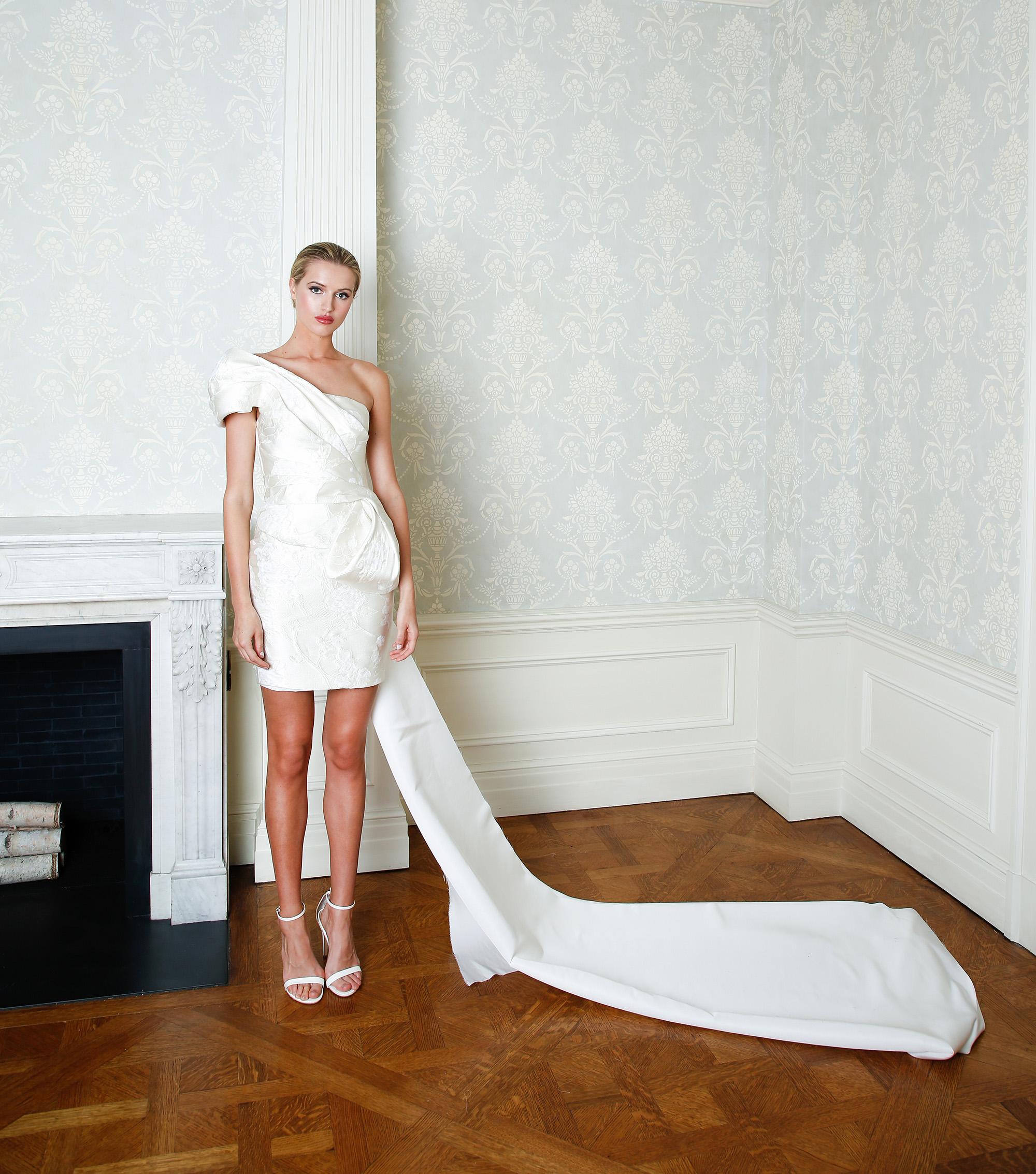 Cristina Ottaviano wedding dress spring 2019 short one shoulder gown with train