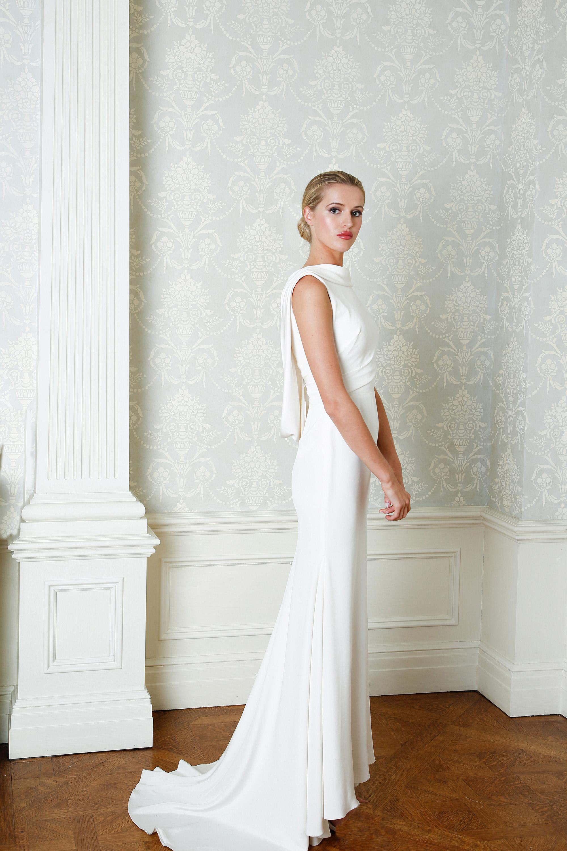 Cristina Ottaviano wedding dress spring 2019 high neck sheath