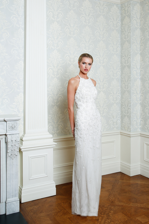 Cristina Ottaviano wedding dress spring 2019 floral beaded sheath