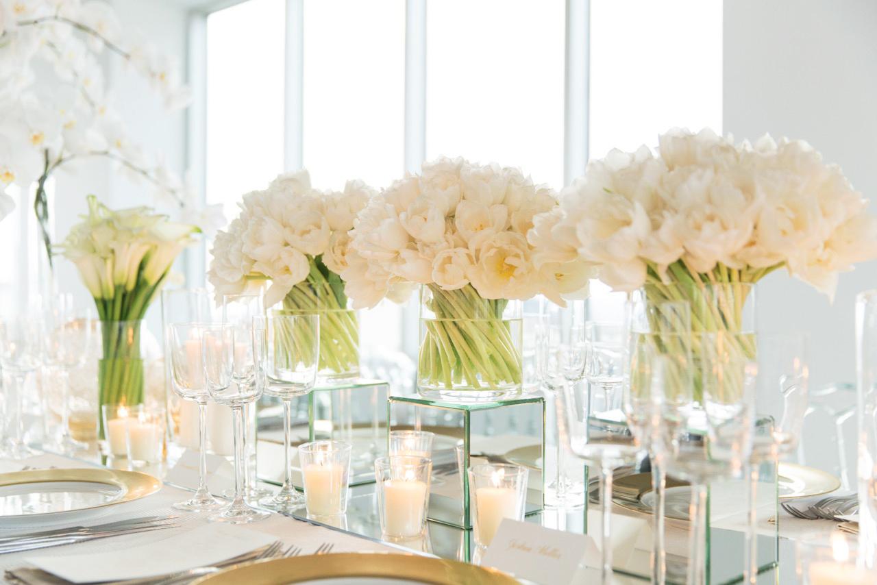 modern wedding white table decor