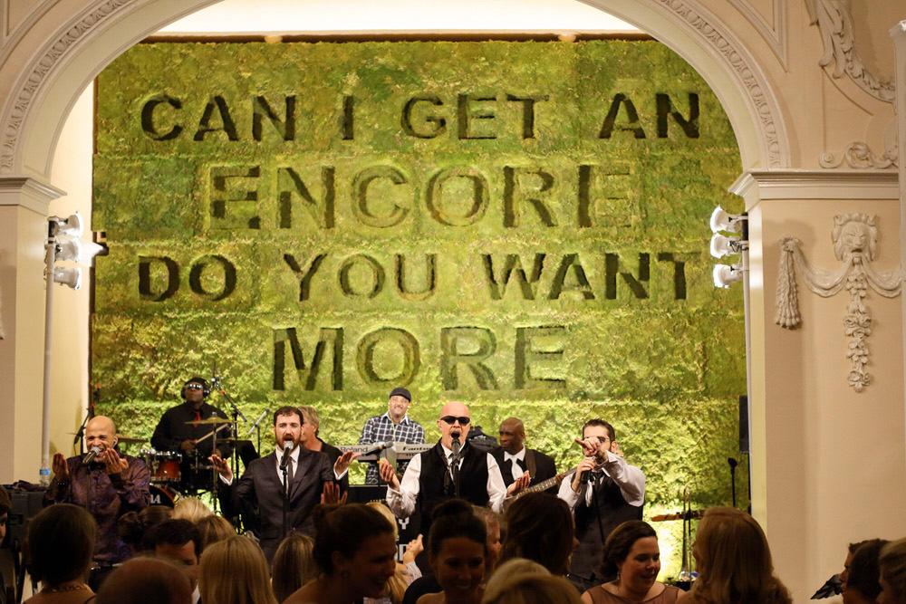 modern wedding typographic band backdrop