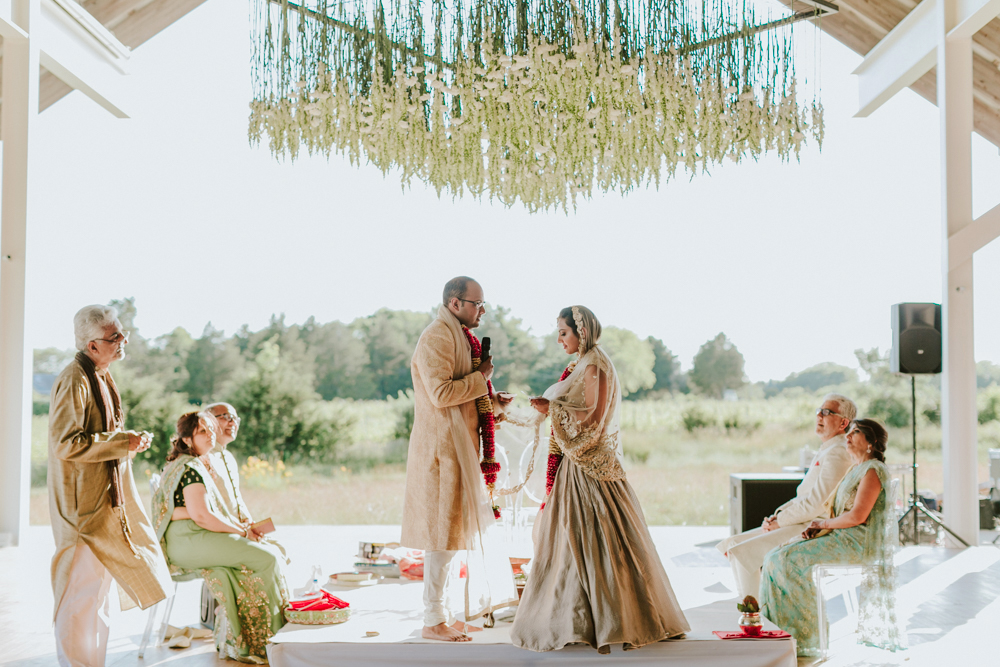 modern wedding hanging ceremony backdrop