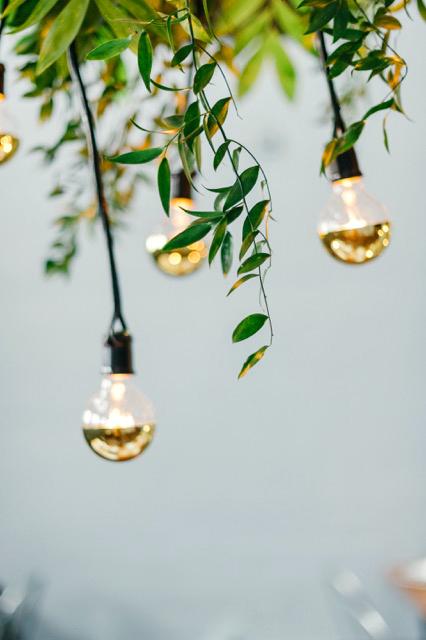 modern wedding gold-dipped light bulbs