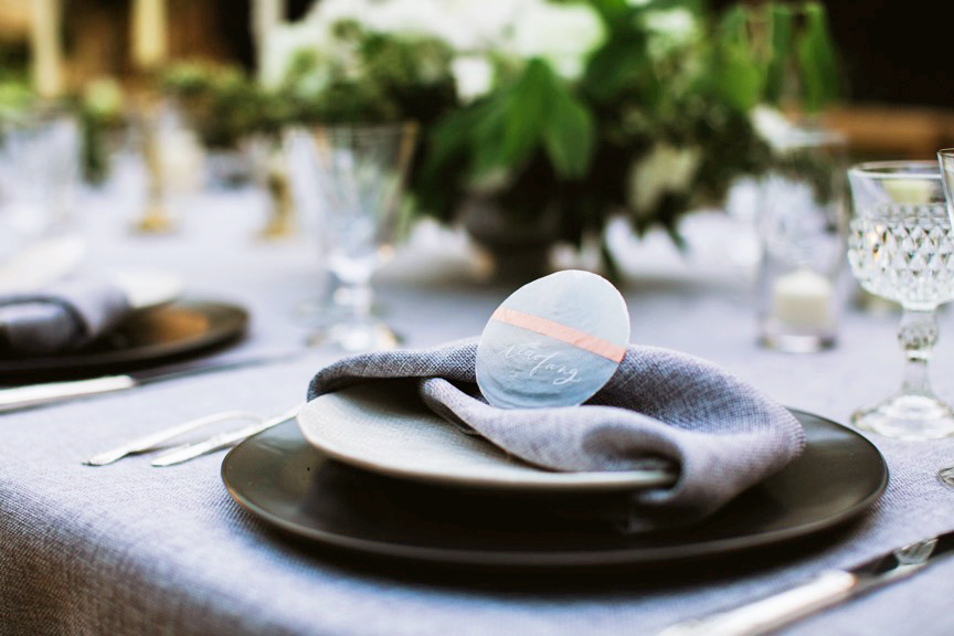 modern wedding twisted napkin on plate