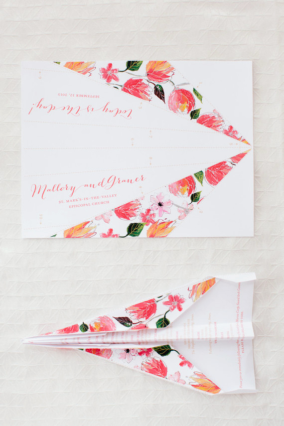 modern wedding paper airplanes