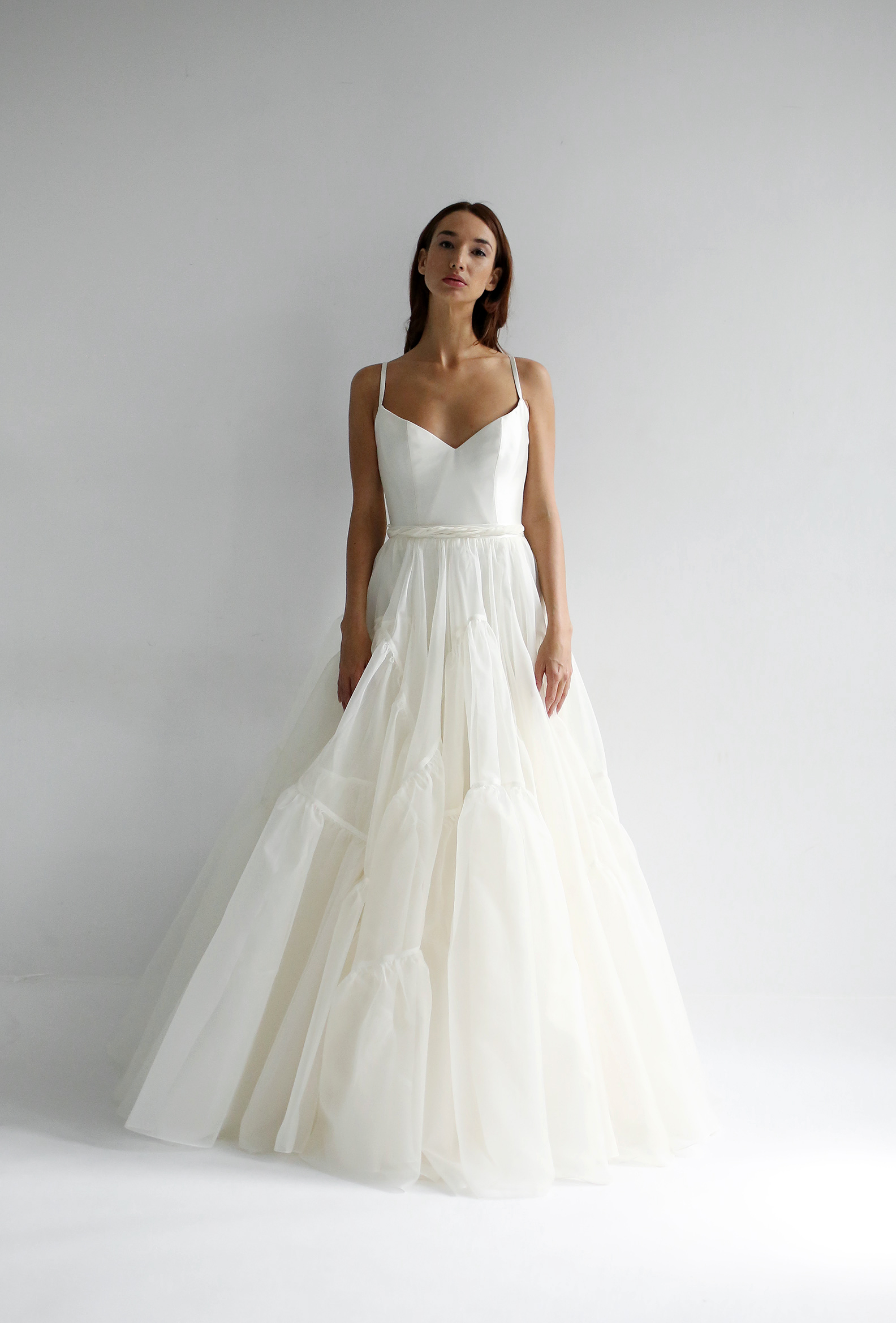 leanne marshall wedding dress spring 2019 spaghetti strap ruffles a-line