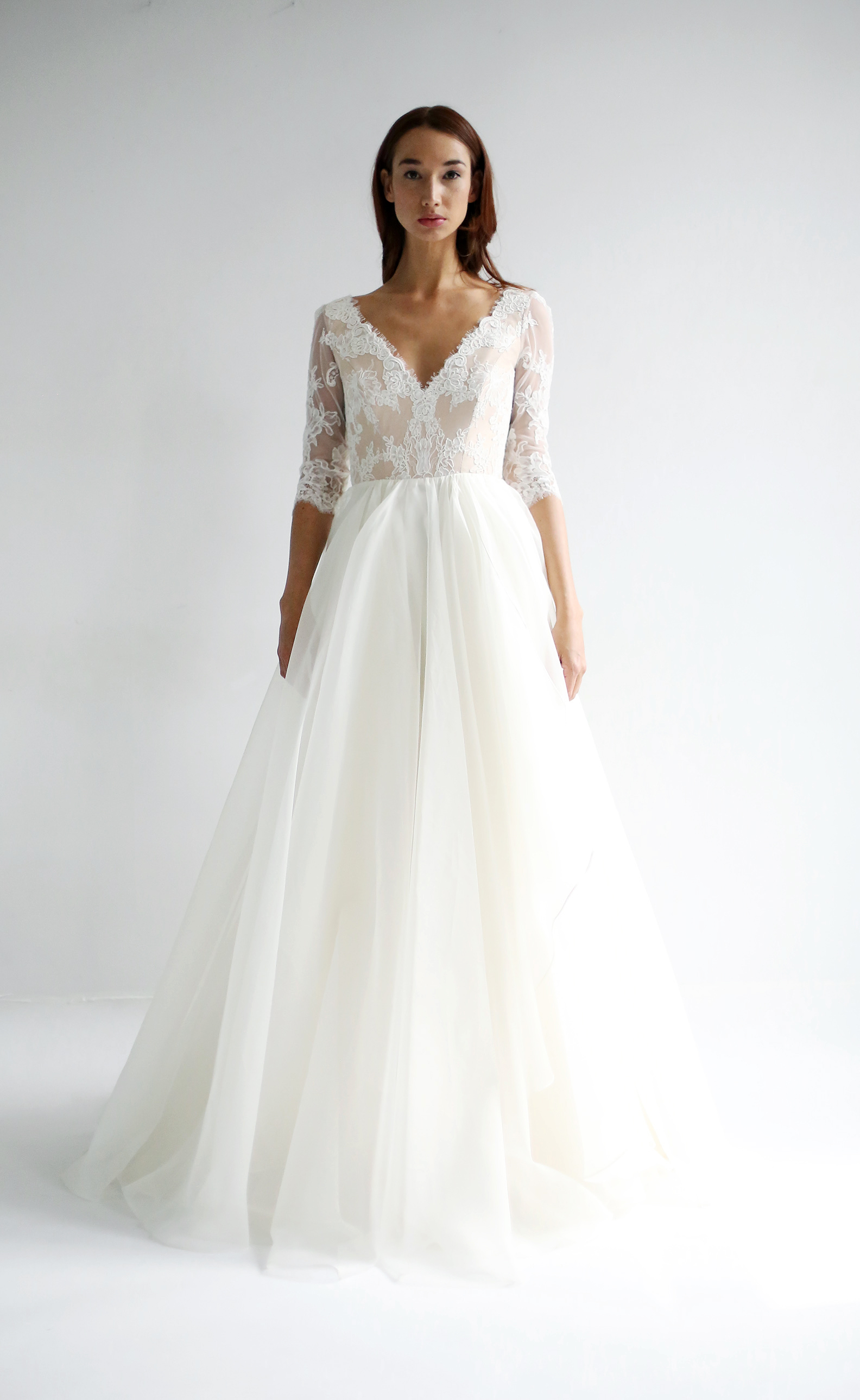 leanne marshall wedding dress spring 2019 lace elbow length sleeves v-neck
