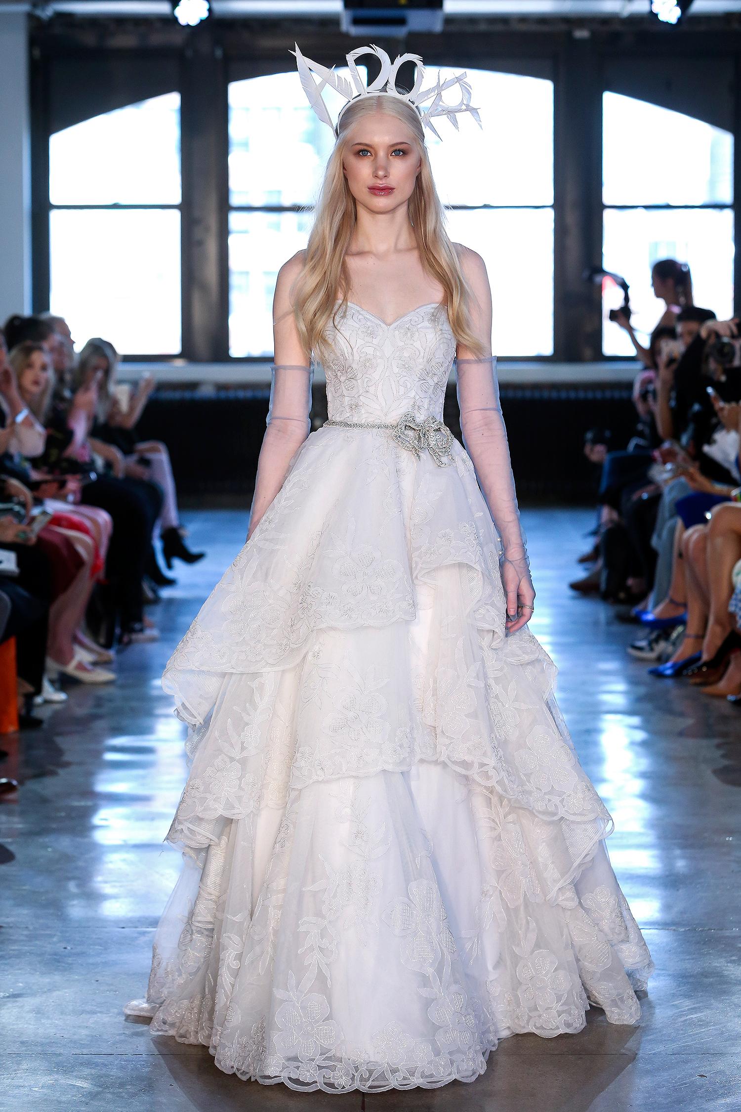 watters wedding dress spring 2019 tiered ballgown crystal belt