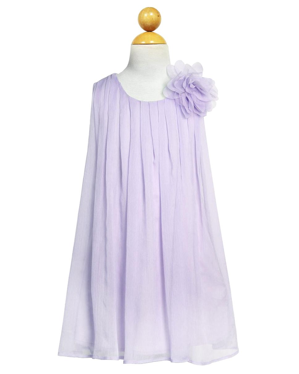 Girls Dress Line Chiffon Ruched Neckline Dress