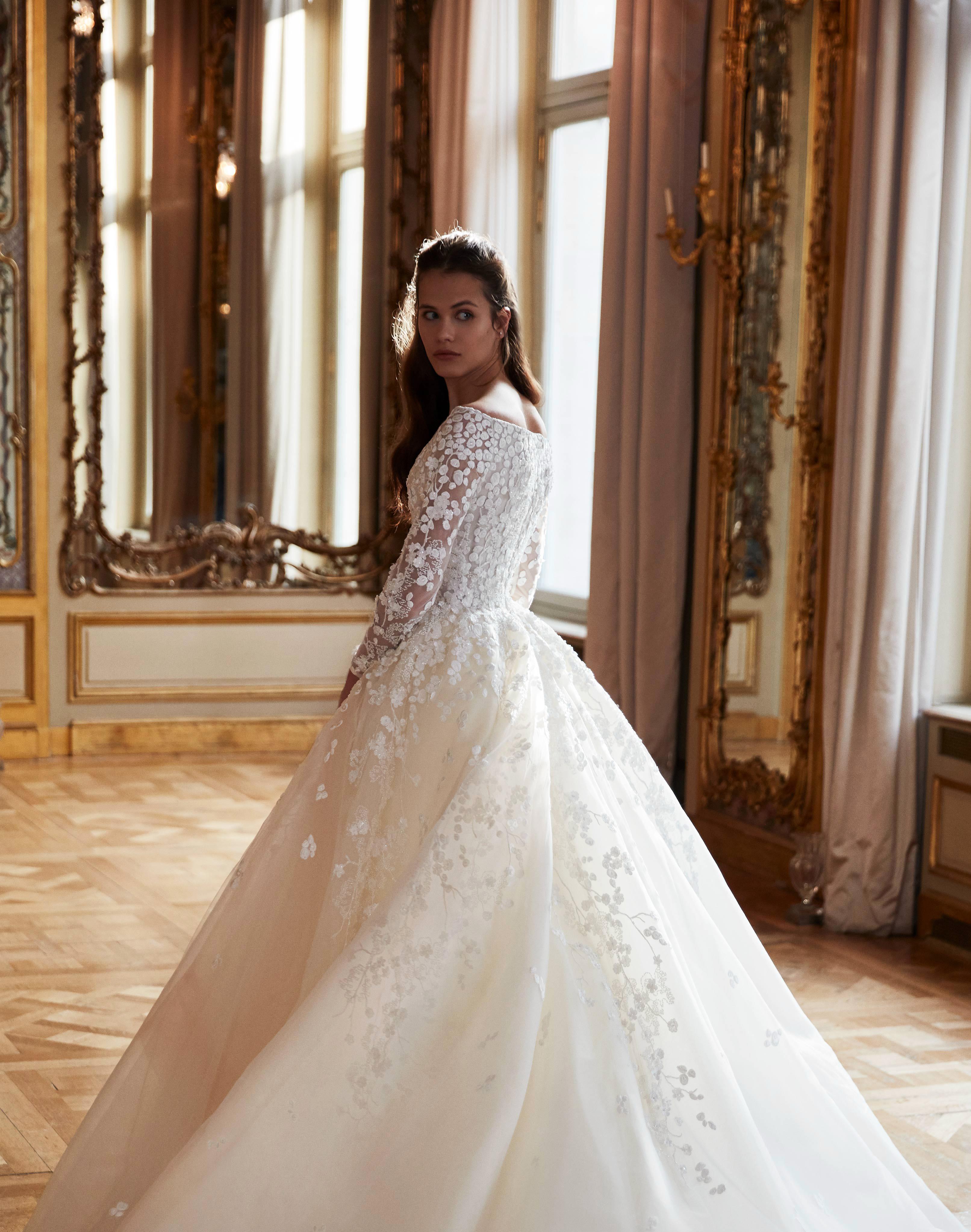 elie saab wedding dress spring 2019 ballgown long sleeves embroidered