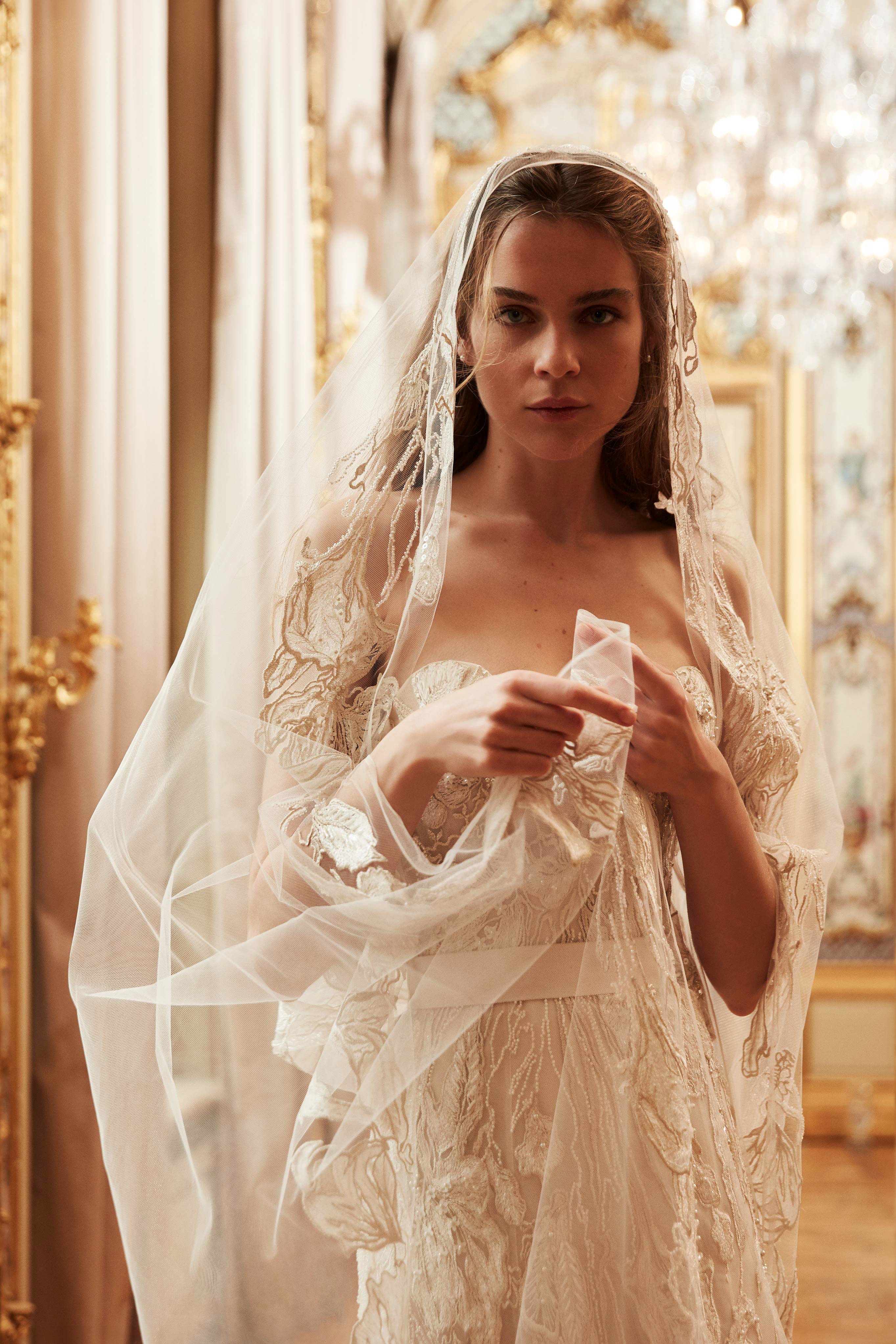 elie saab wedding dress spring 2019 strapless veil beading